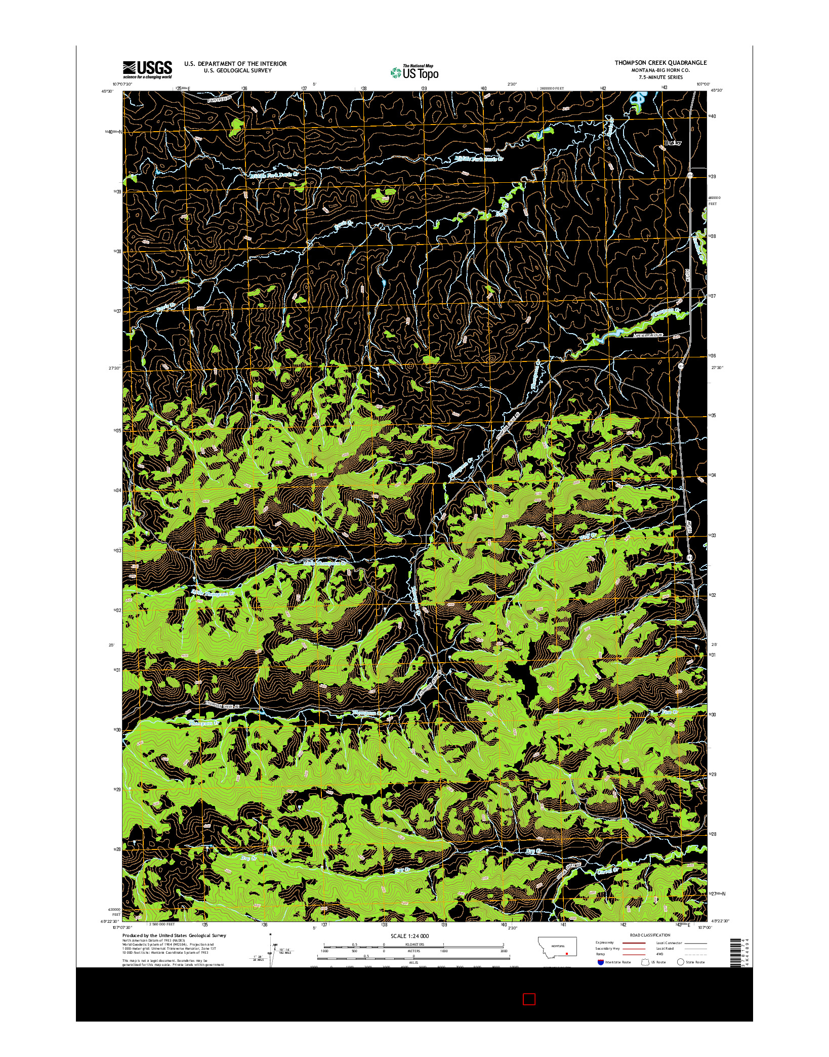 USGS US TOPO 7.5-MINUTE MAP FOR THOMPSON CREEK, MT 2014