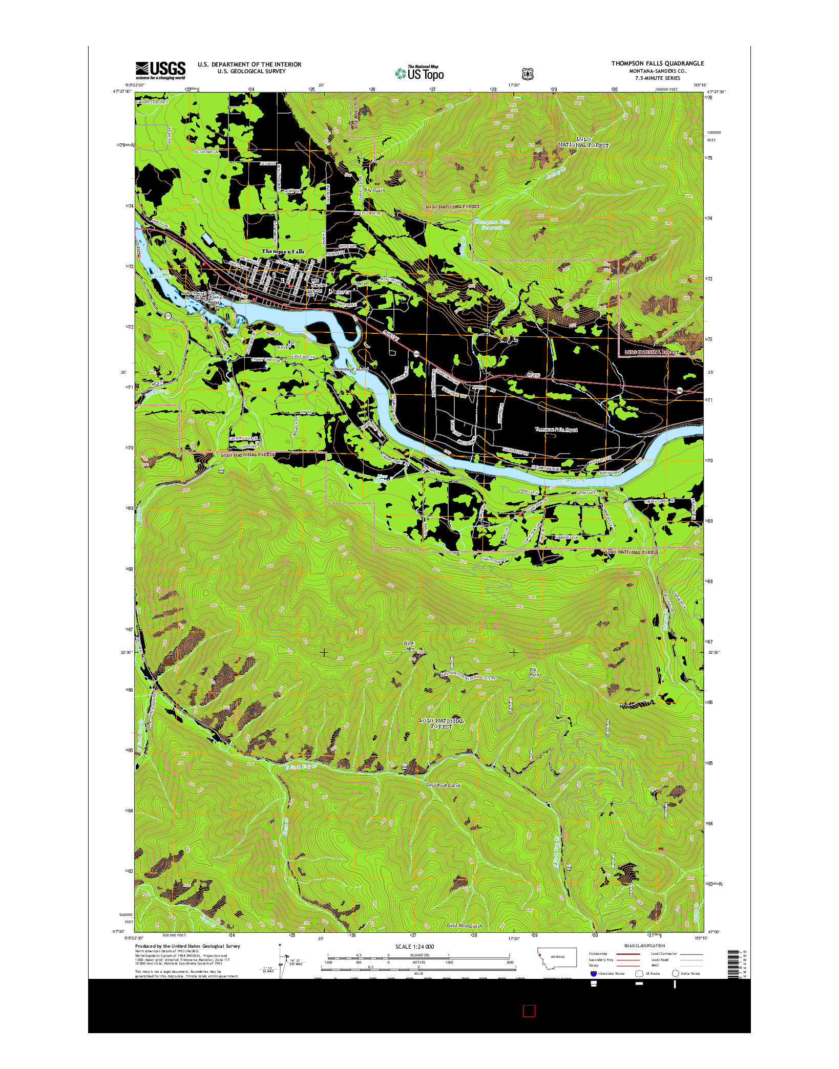 USGS US TOPO 7.5-MINUTE MAP FOR THOMPSON FALLS, MT 2014