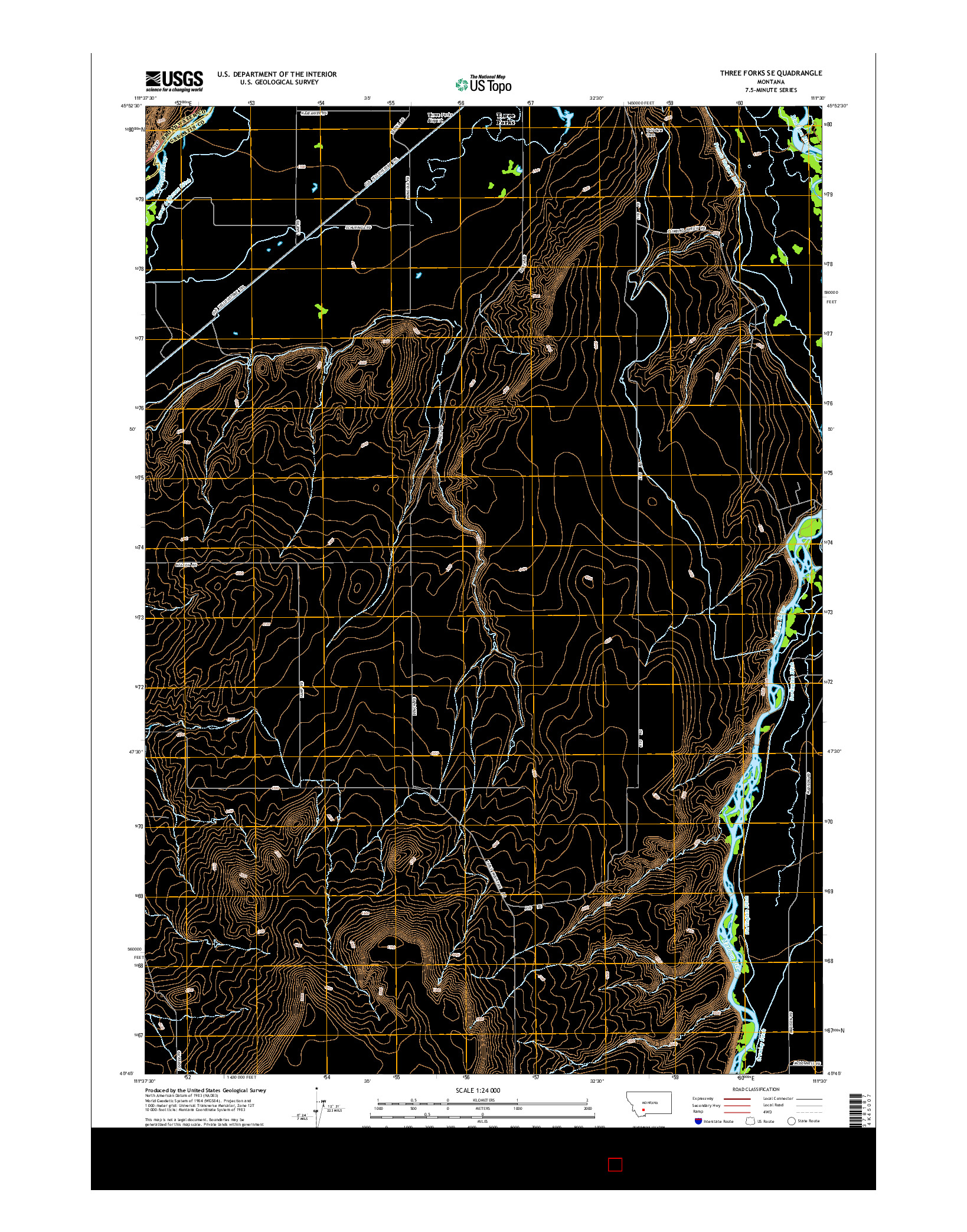 USGS US TOPO 7.5-MINUTE MAP FOR THREE FORKS SE, MT 2014