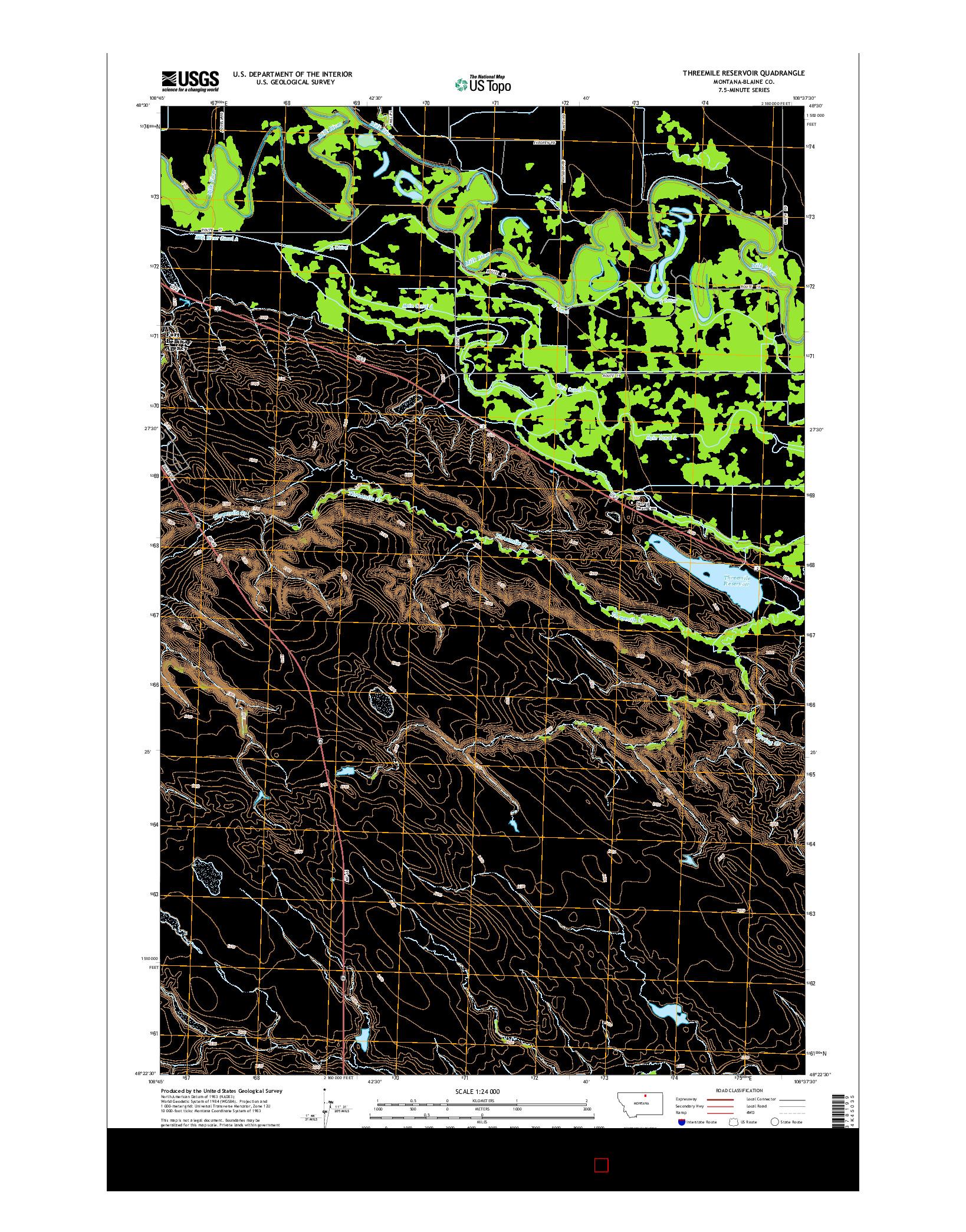 USGS US TOPO 7.5-MINUTE MAP FOR THREEMILE RESERVOIR, MT 2014