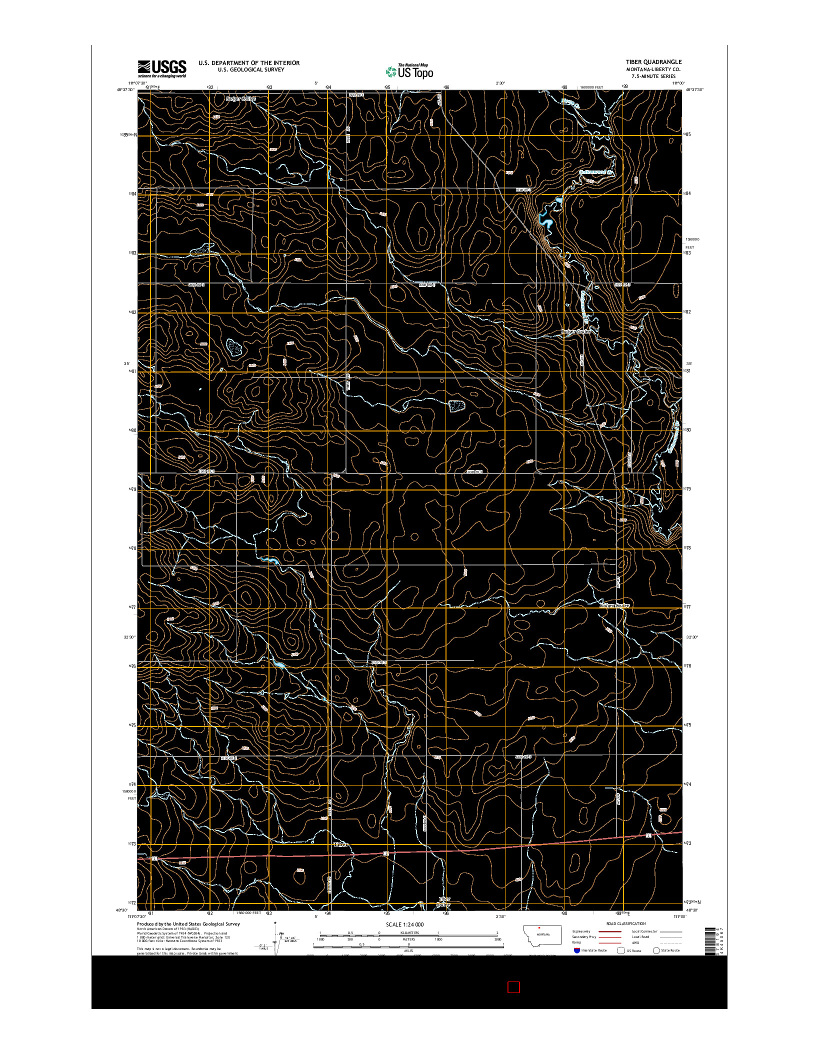 USGS US TOPO 7.5-MINUTE MAP FOR TIBER, MT 2014