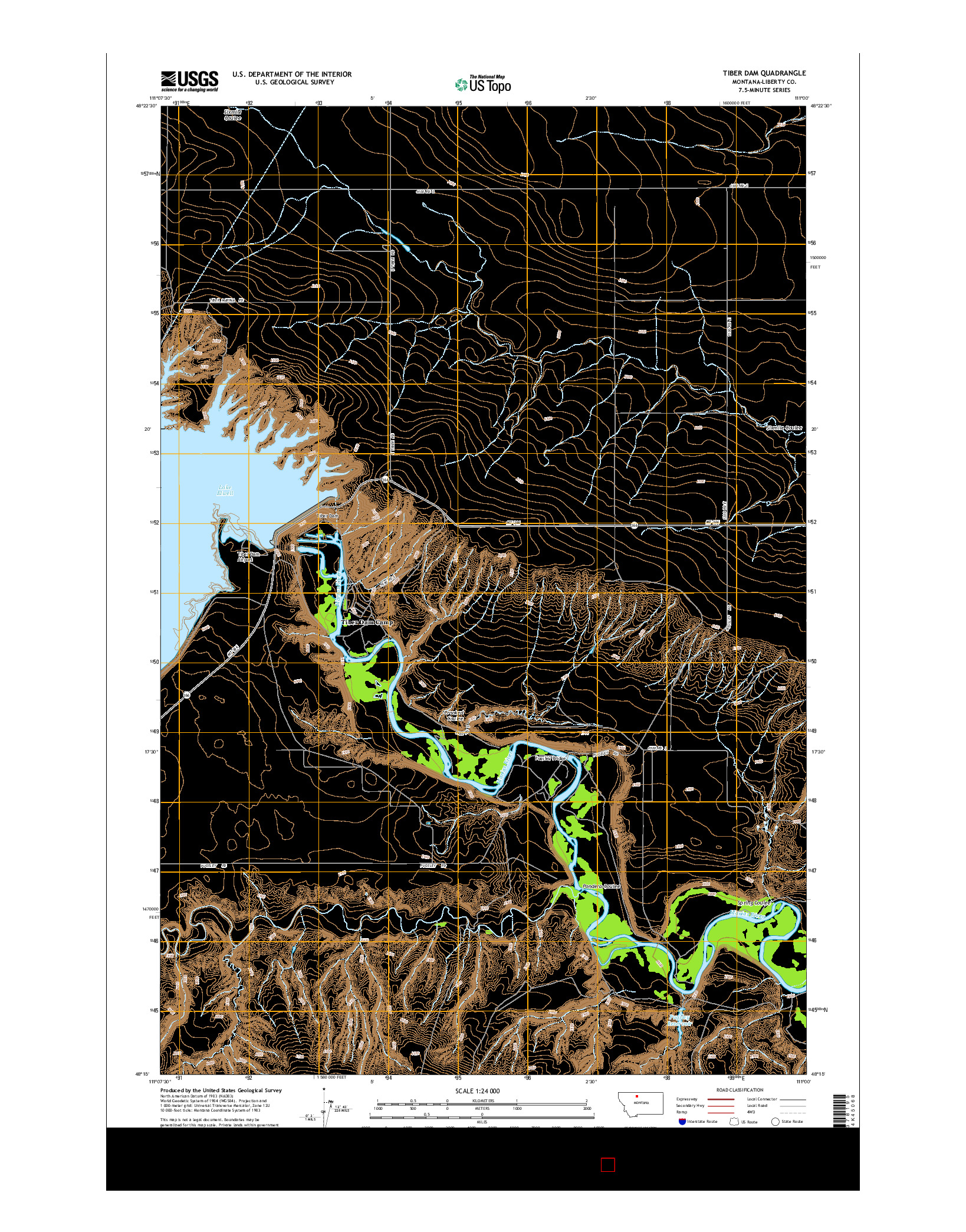 USGS US TOPO 7.5-MINUTE MAP FOR TIBER DAM, MT 2014