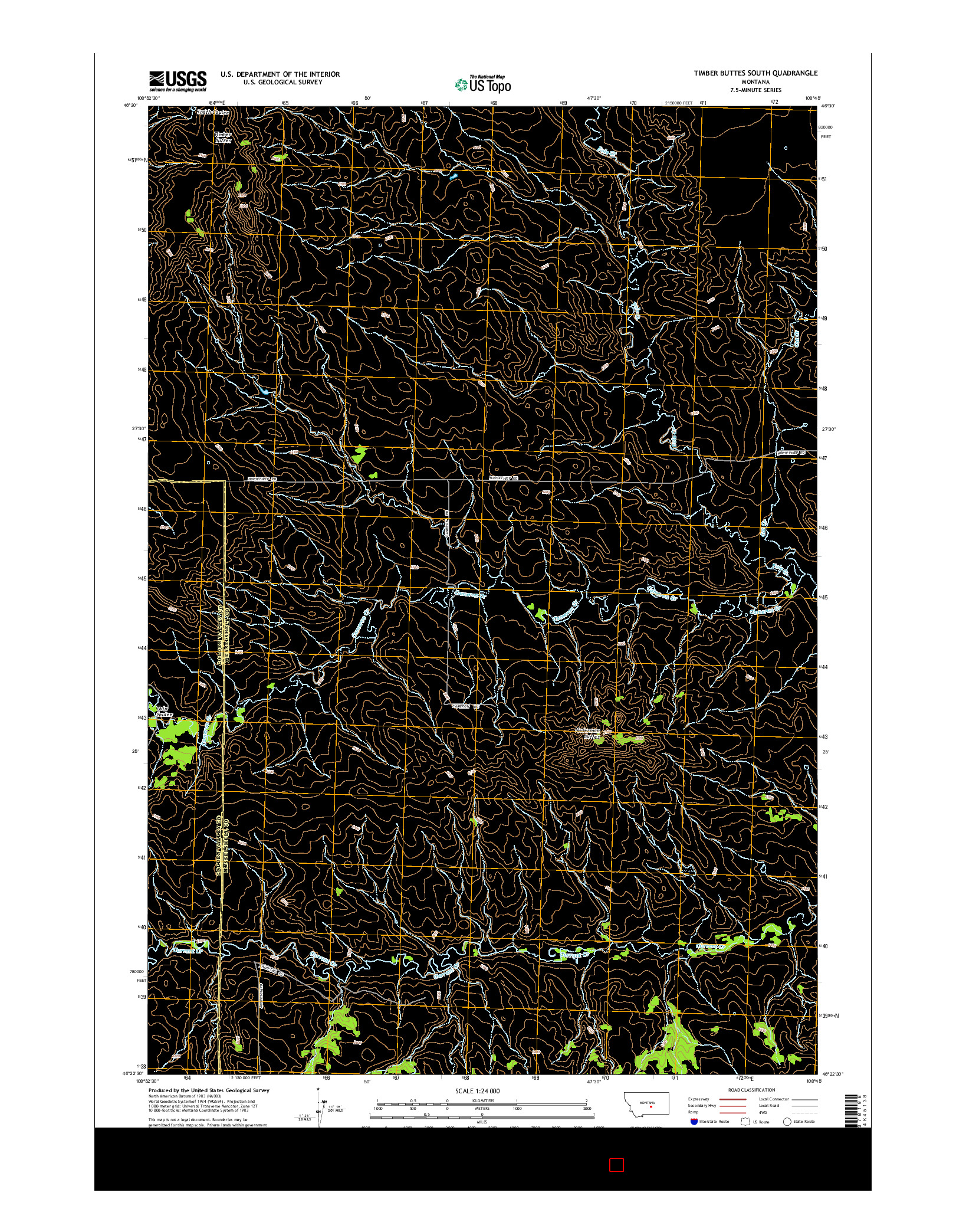 USGS US TOPO 7.5-MINUTE MAP FOR TIMBER BUTTES SOUTH, MT 2014
