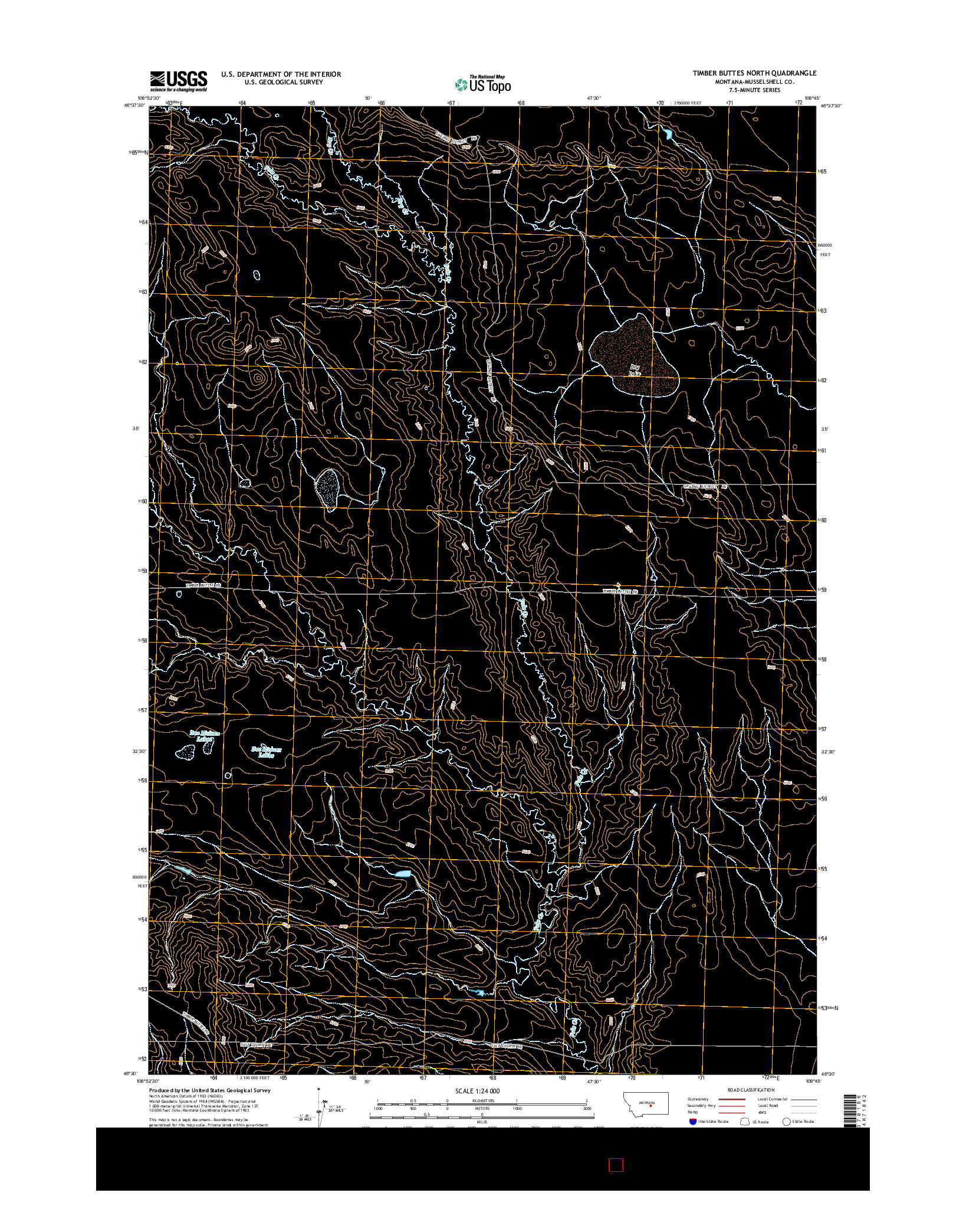 USGS US TOPO 7.5-MINUTE MAP FOR TIMBER BUTTES NORTH, MT 2014