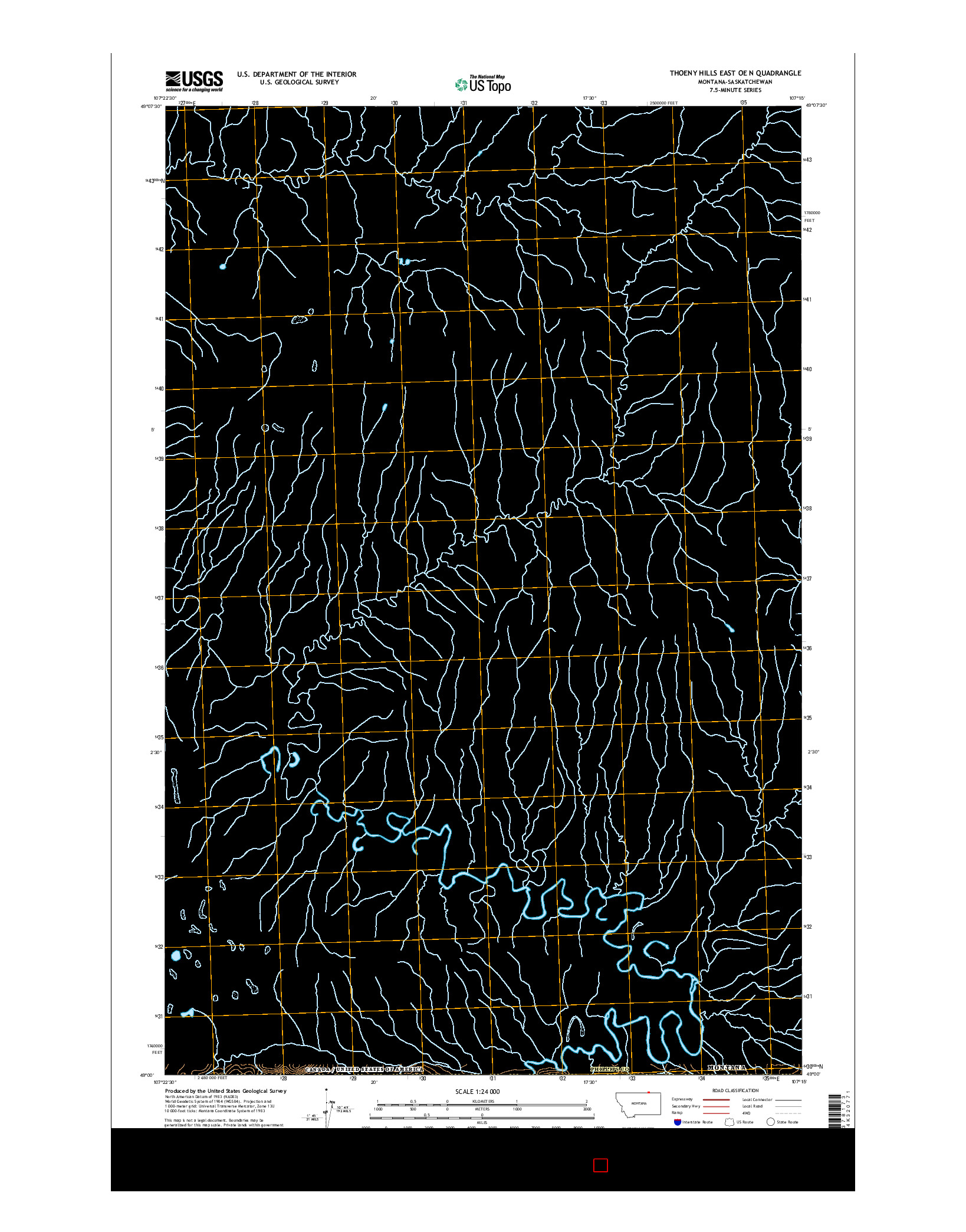 USGS US TOPO 7.5-MINUTE MAP FOR THOENY HILLS EAST OE N, MT-SK 2014