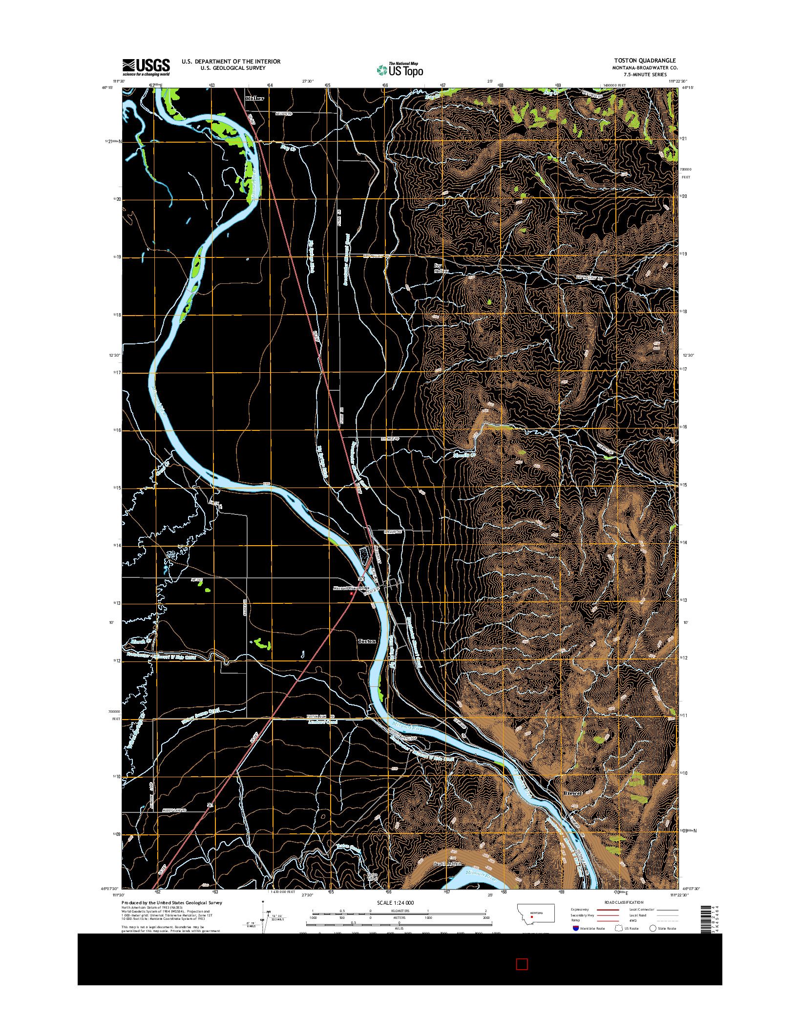 USGS US TOPO 7.5-MINUTE MAP FOR TOSTON, MT 2014