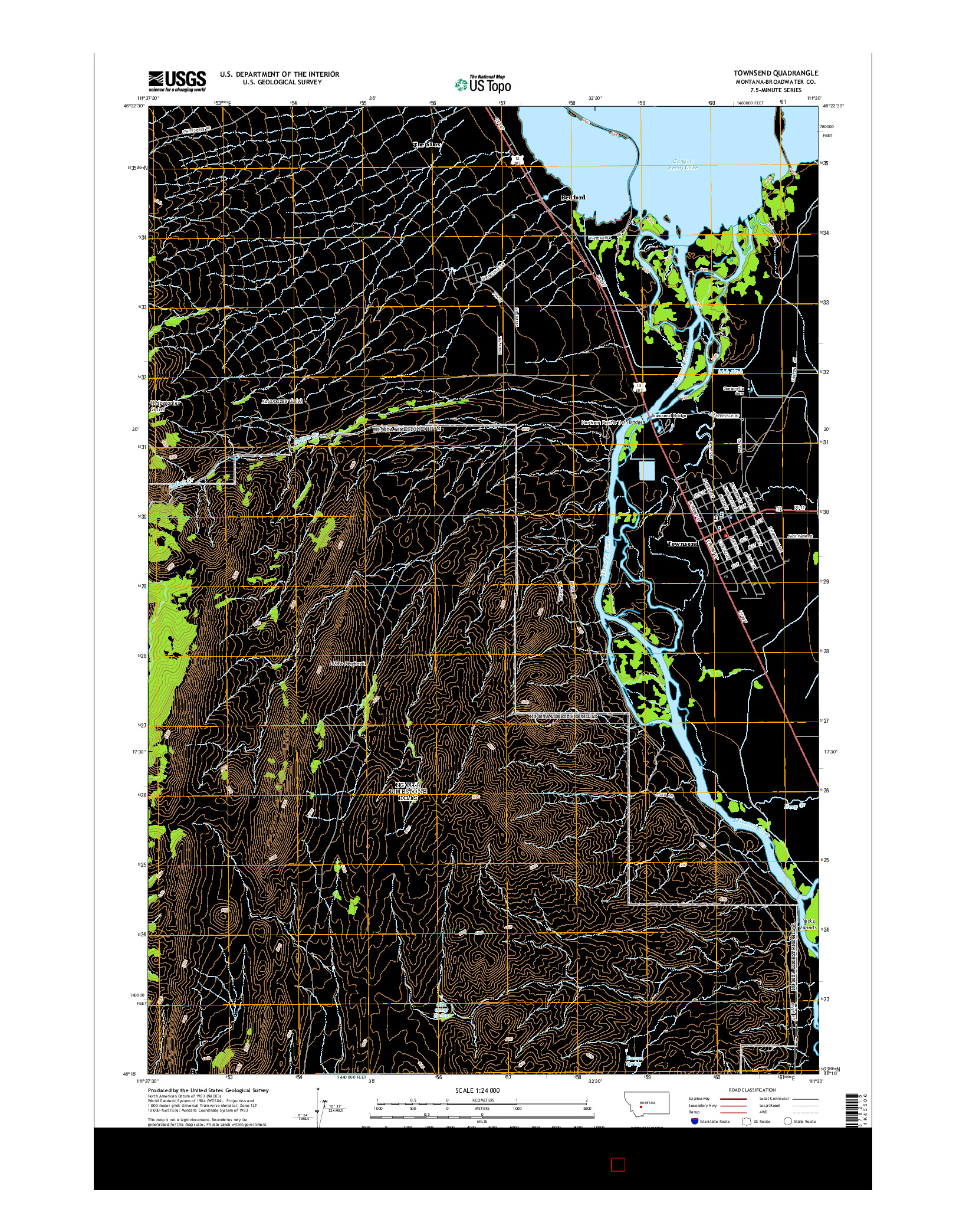 USGS US TOPO 7.5-MINUTE MAP FOR TOWNSEND, MT 2014