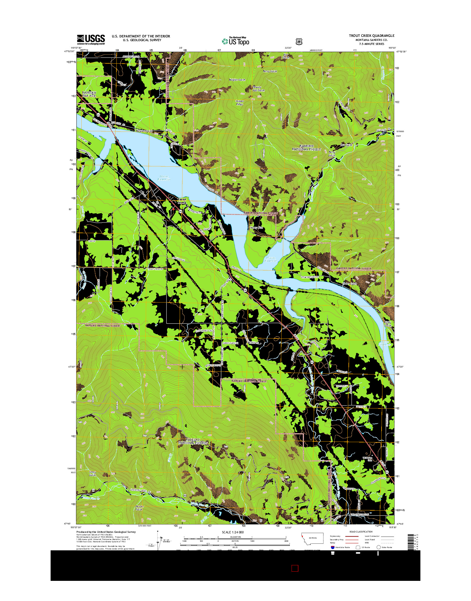 USGS US TOPO 7.5-MINUTE MAP FOR TROUT CREEK, MT 2014