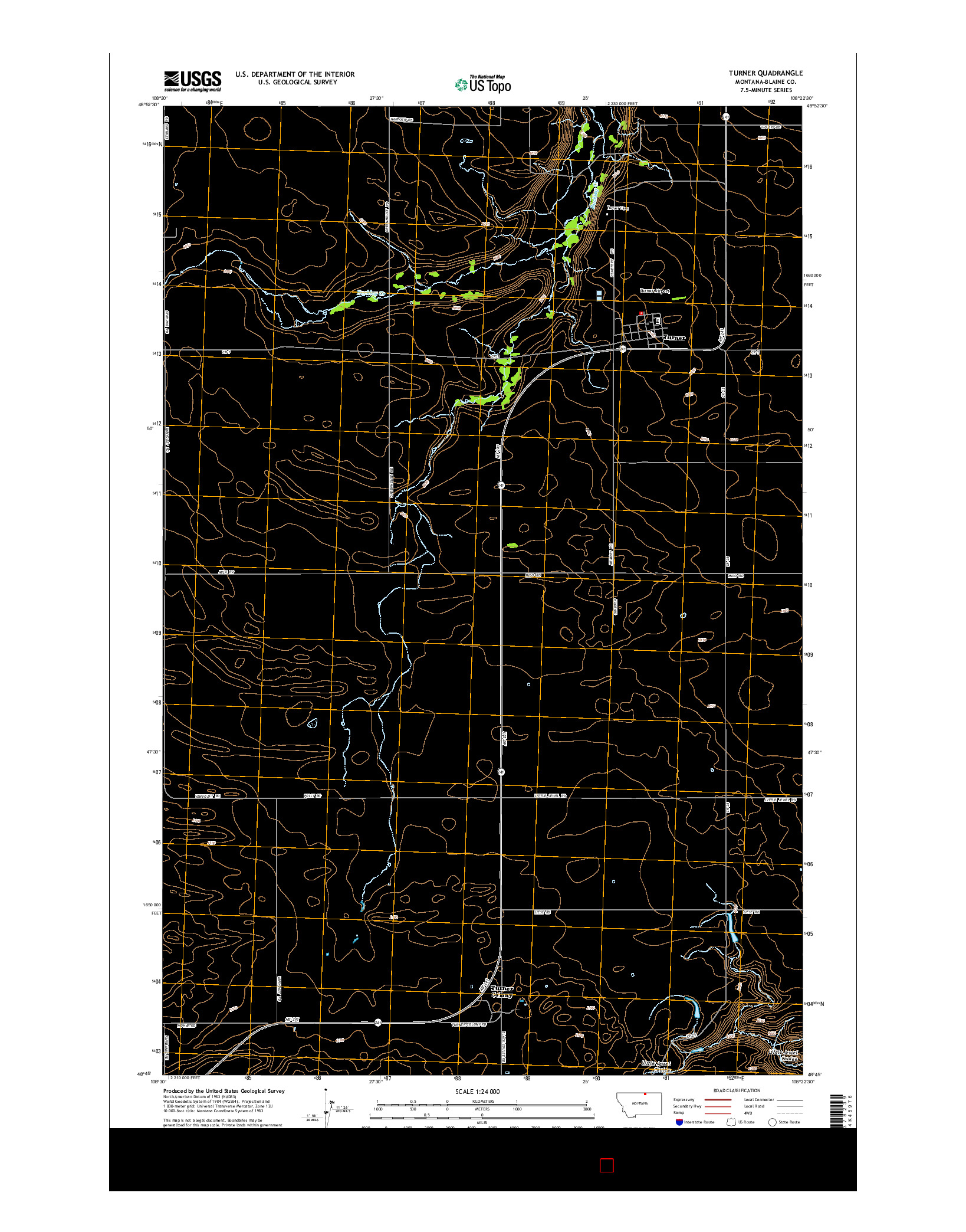 USGS US TOPO 7.5-MINUTE MAP FOR TURNER, MT 2014
