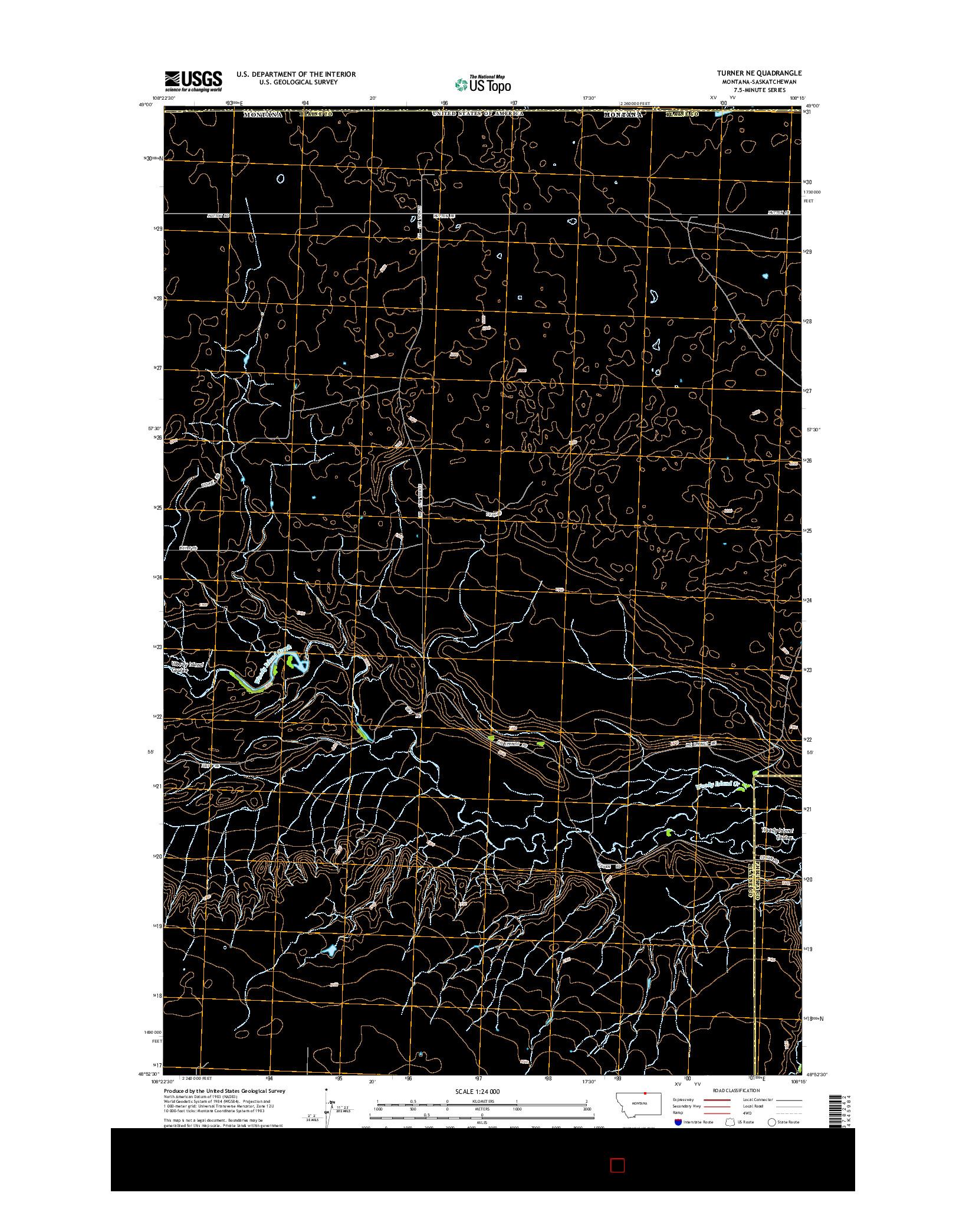 USGS US TOPO 7.5-MINUTE MAP FOR TURNER NE, MT-SK 2014