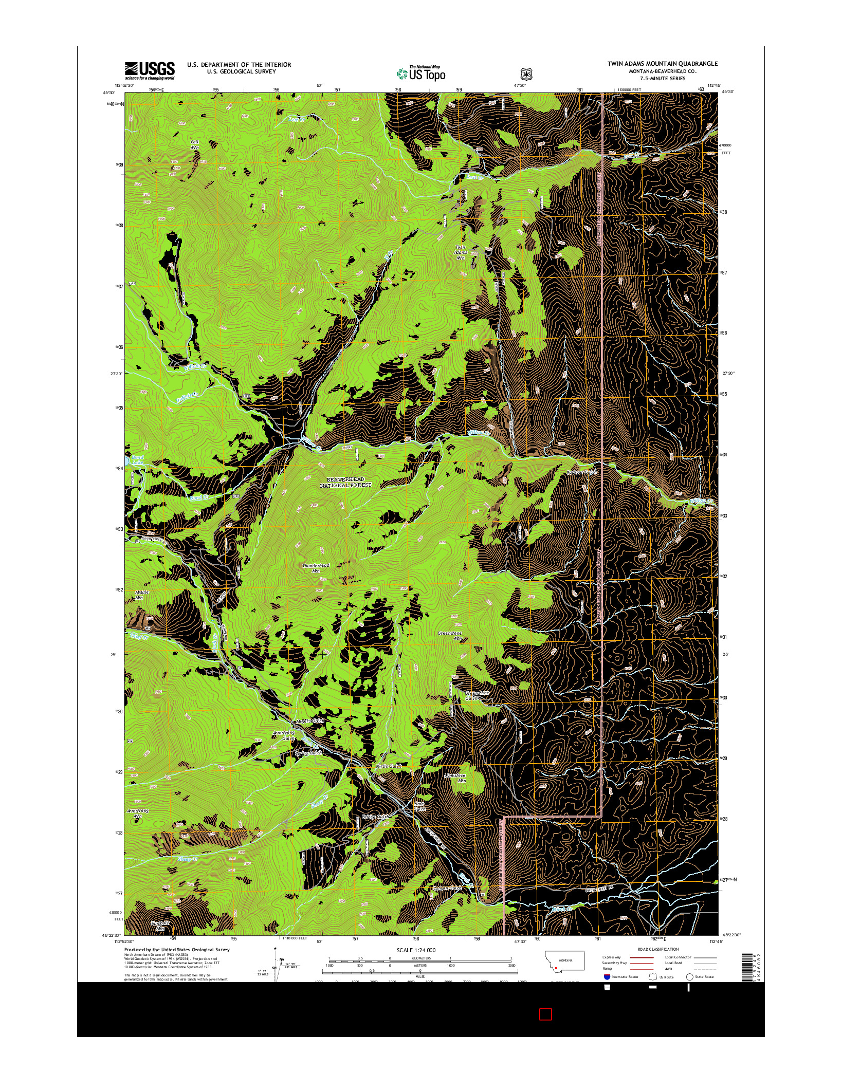 USGS US TOPO 7.5-MINUTE MAP FOR TWIN ADAMS MOUNTAIN, MT 2014