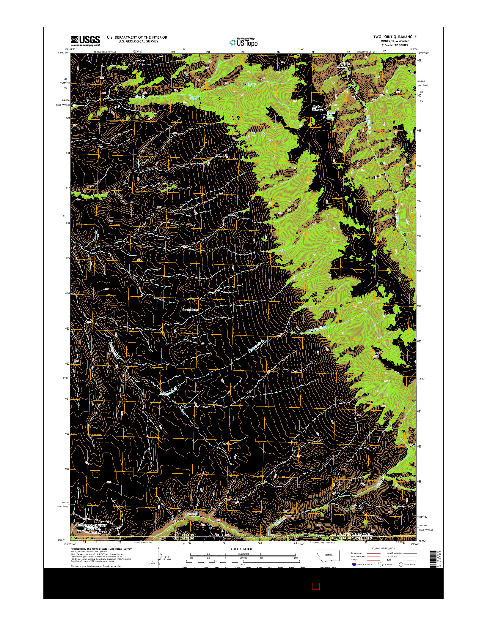 USGS US TOPO 7.5-MINUTE MAP FOR TWO POINT, MT-WY 2014