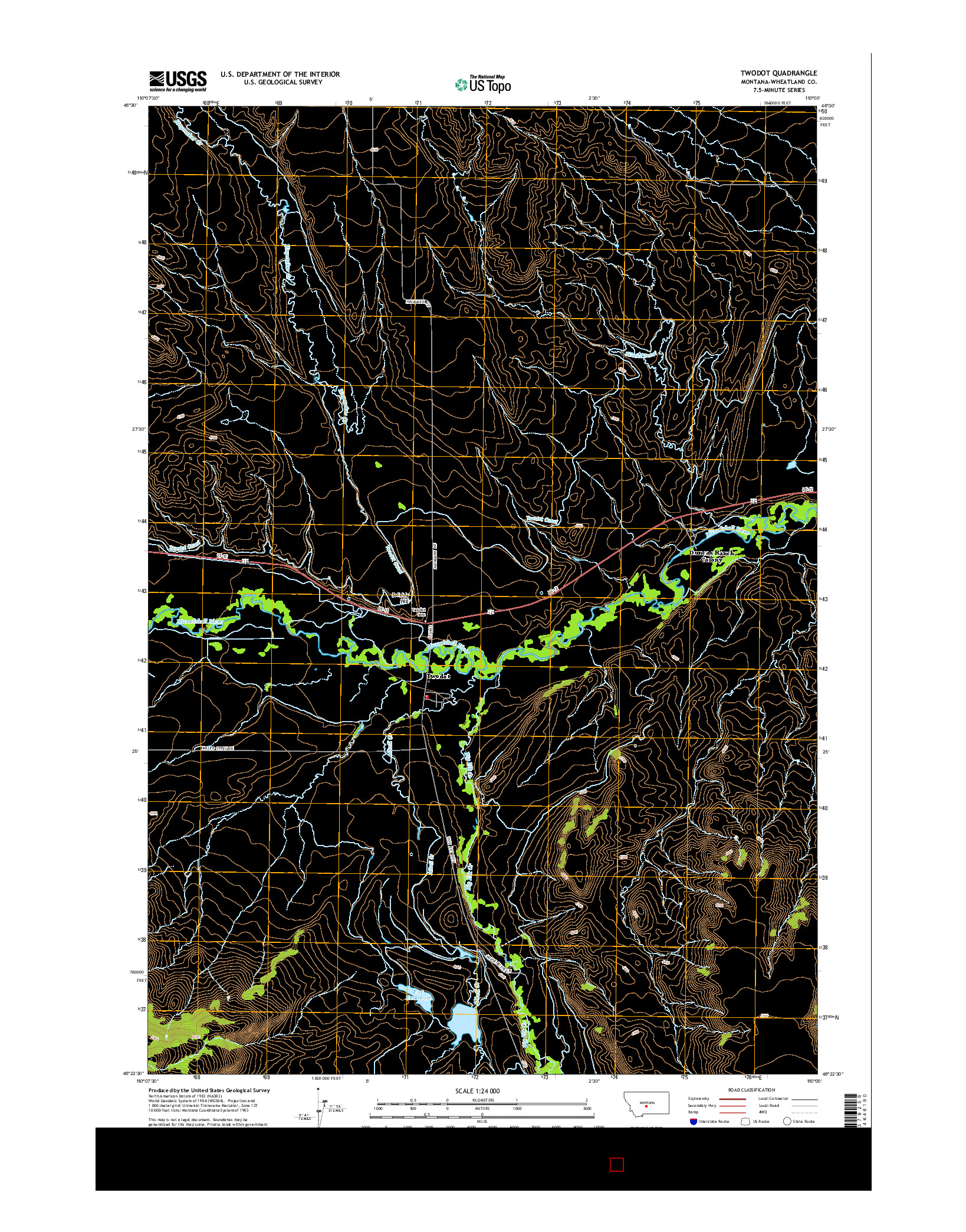 USGS US TOPO 7.5-MINUTE MAP FOR TWODOT, MT 2014
