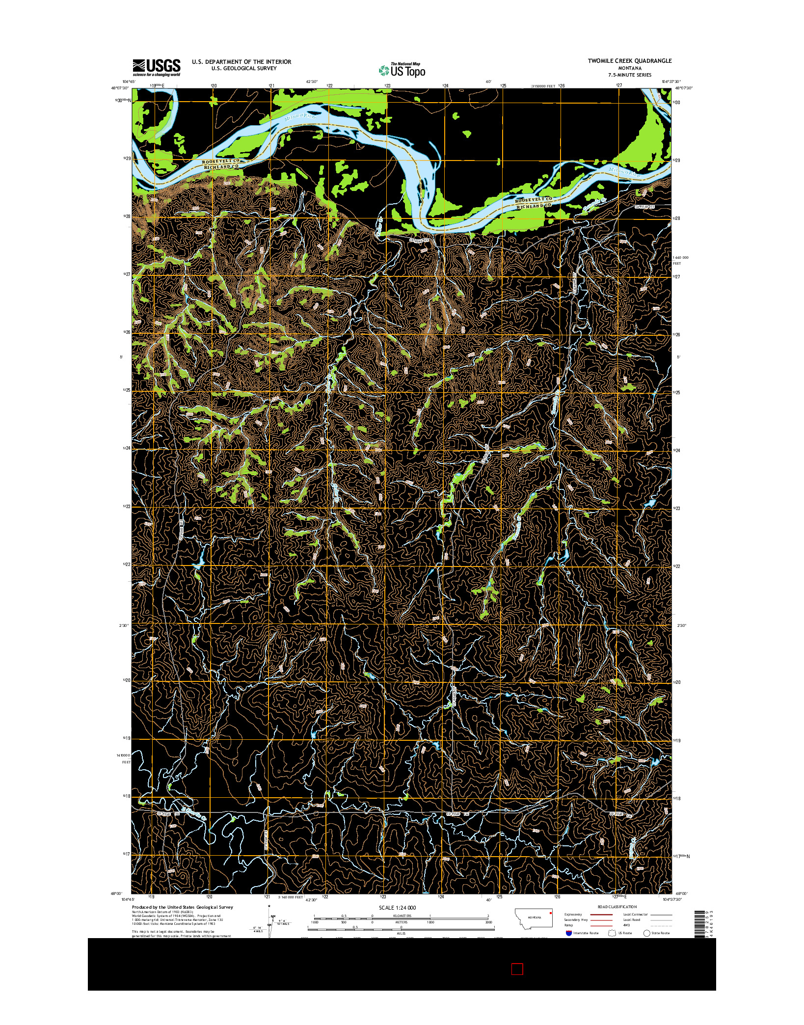 USGS US TOPO 7.5-MINUTE MAP FOR TWOMILE CREEK, MT 2014