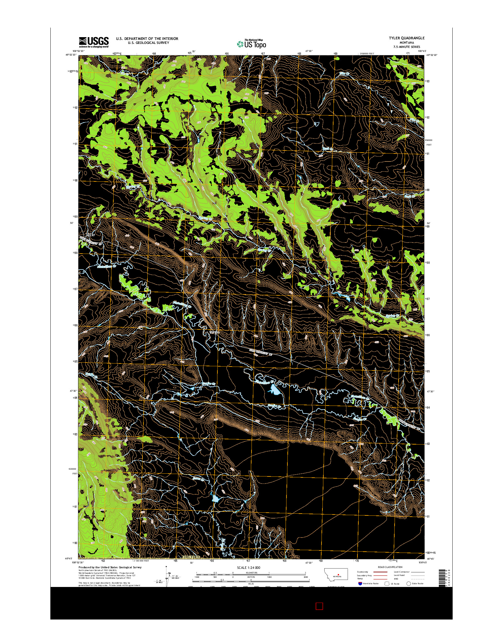 USGS US TOPO 7.5-MINUTE MAP FOR TYLER, MT 2014