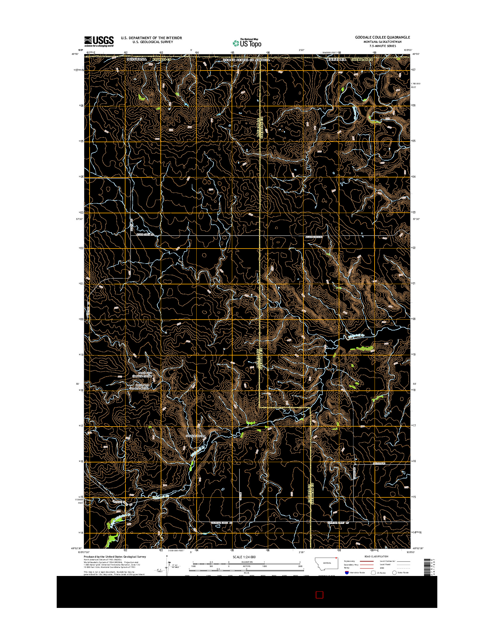 USGS US TOPO 7.5-MINUTE MAP FOR GOODALE COULEE, MT-SK 2014