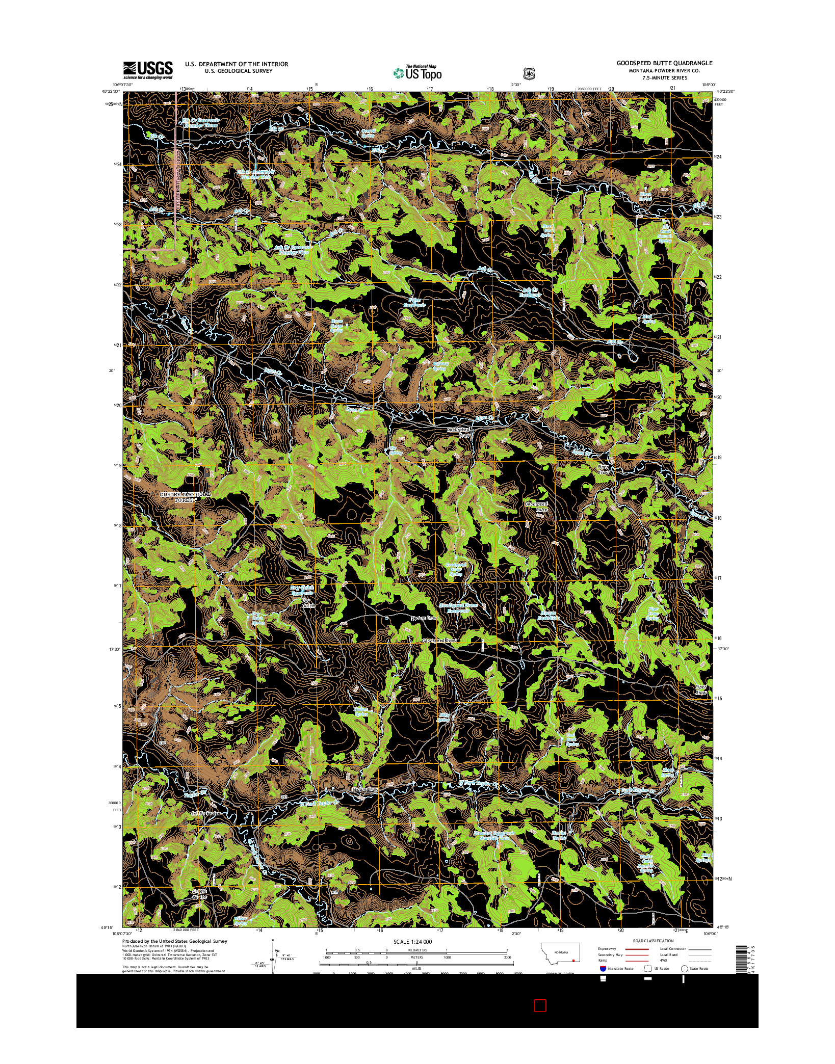 USGS US TOPO 7.5-MINUTE MAP FOR GOODSPEED BUTTE, MT 2014