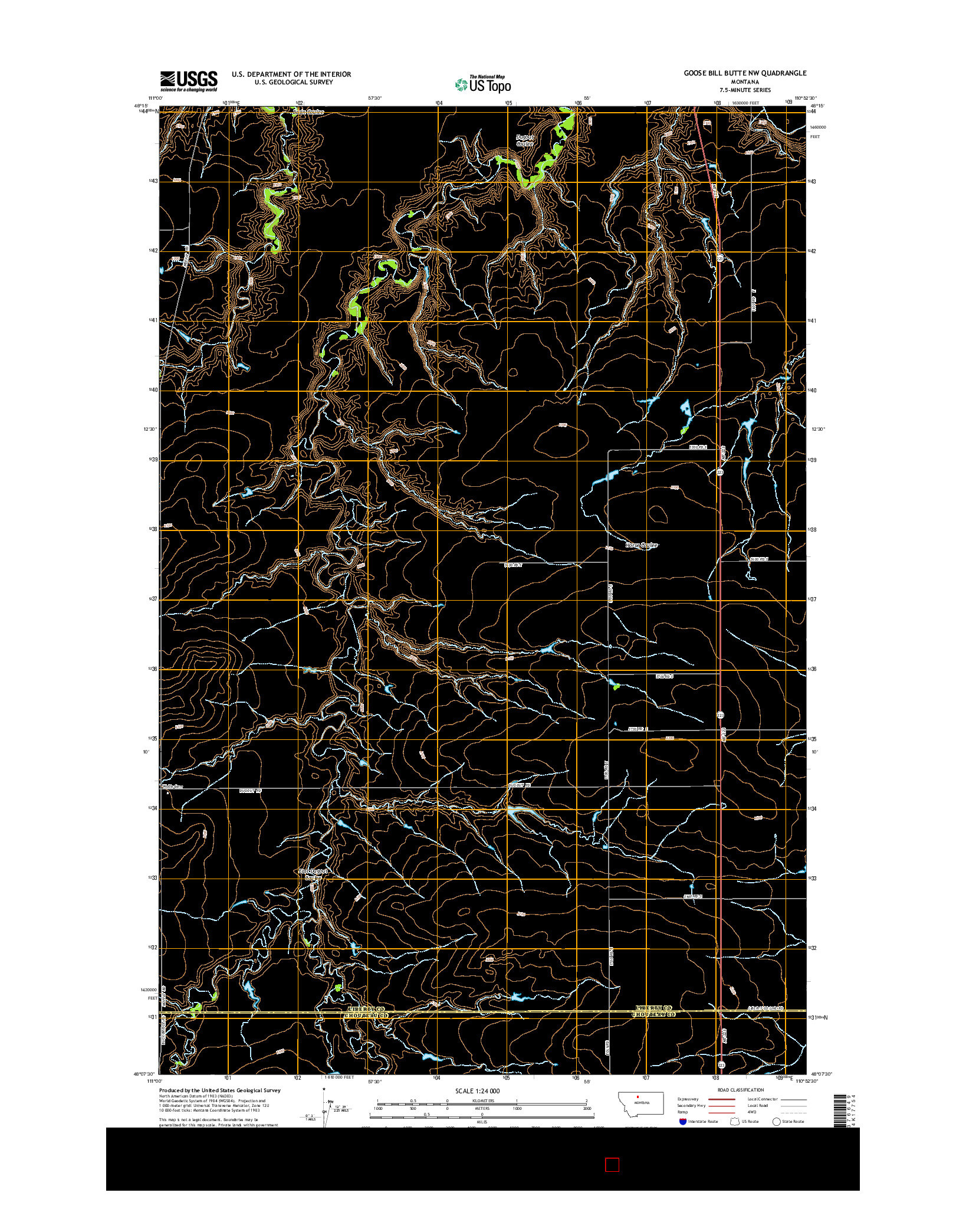 USGS US TOPO 7.5-MINUTE MAP FOR GOOSE BILL BUTTE NW, MT 2014