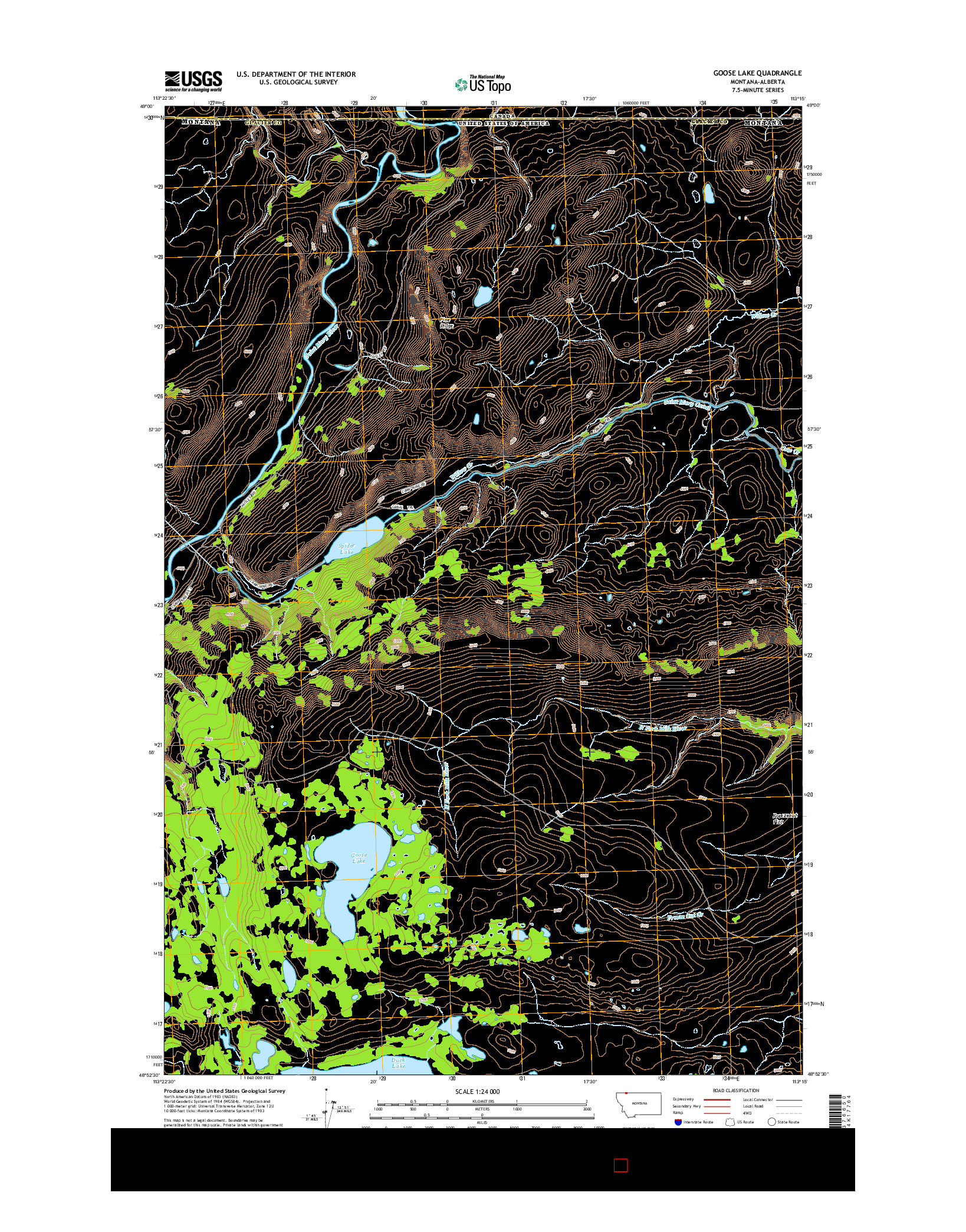 USGS US TOPO 7.5-MINUTE MAP FOR GOOSE LAKE, MT-AB 2014