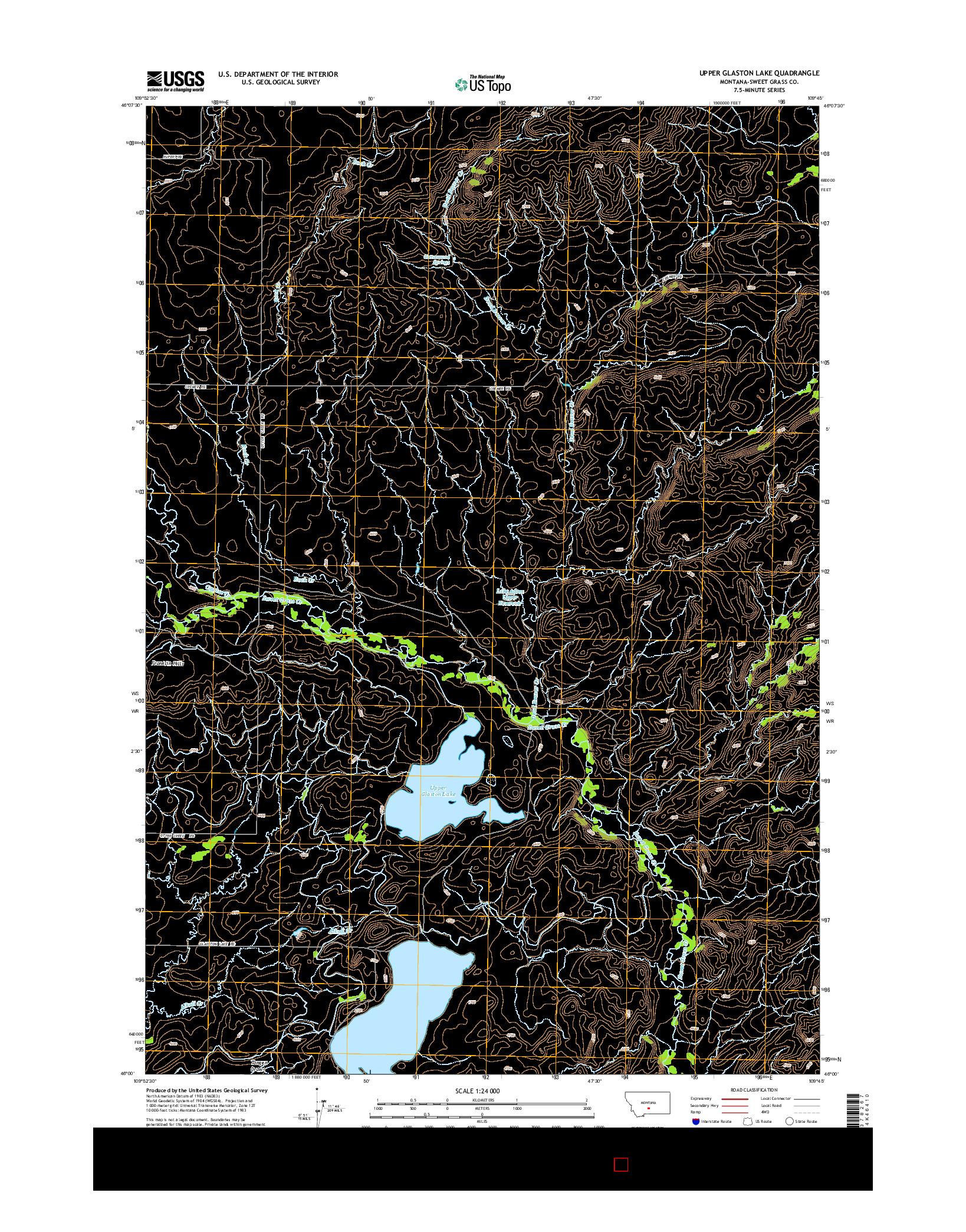 USGS US TOPO 7.5-MINUTE MAP FOR UPPER GLASTON LAKE, MT 2014