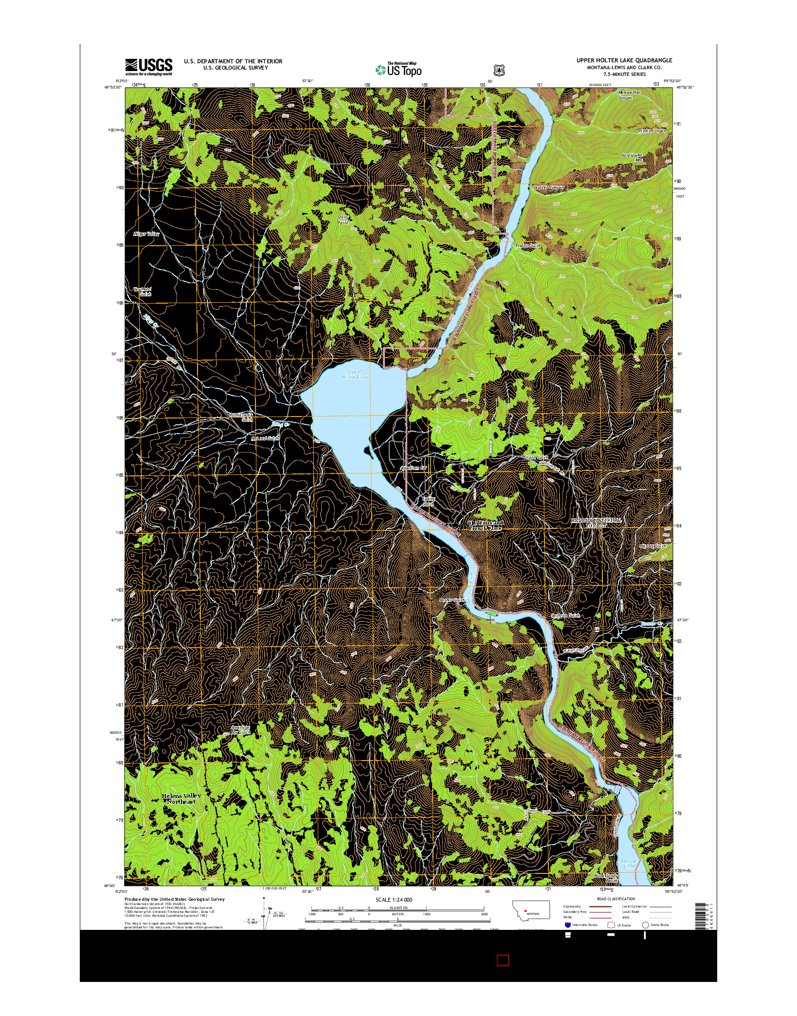 USGS US TOPO 7.5-MINUTE MAP FOR UPPER HOLTER LAKE, MT 2014