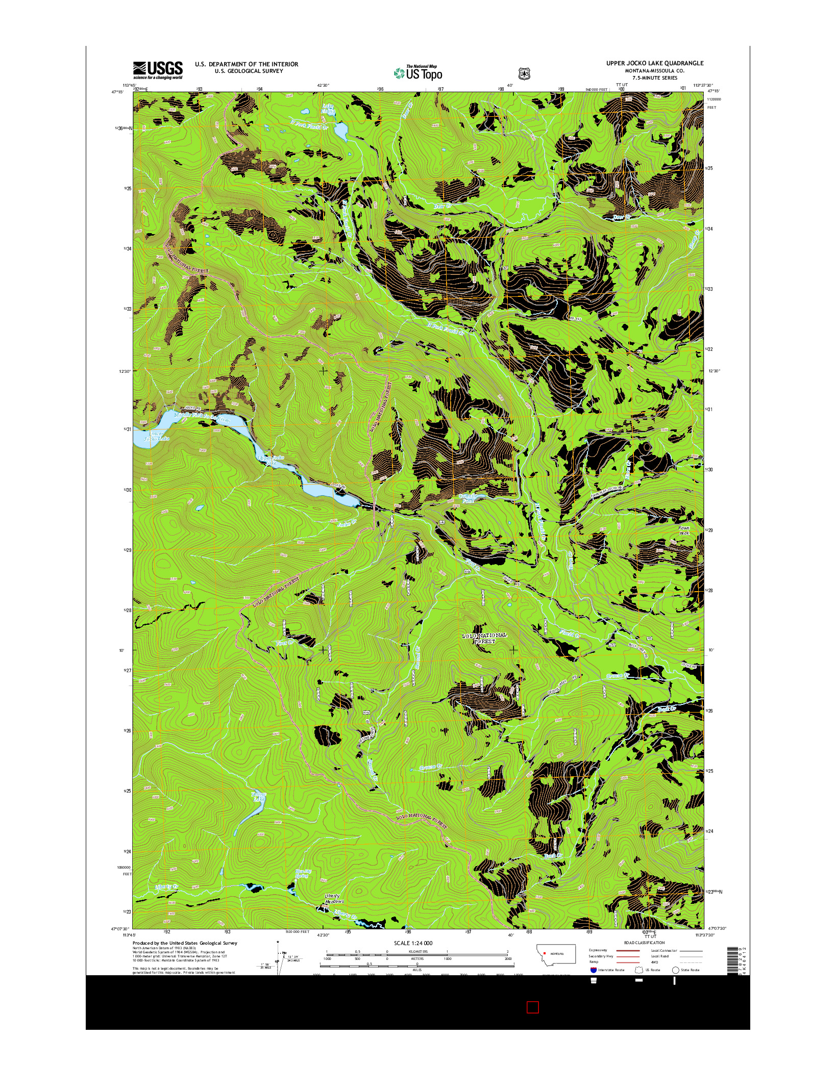 USGS US TOPO 7.5-MINUTE MAP FOR UPPER JOCKO LAKE, MT 2014