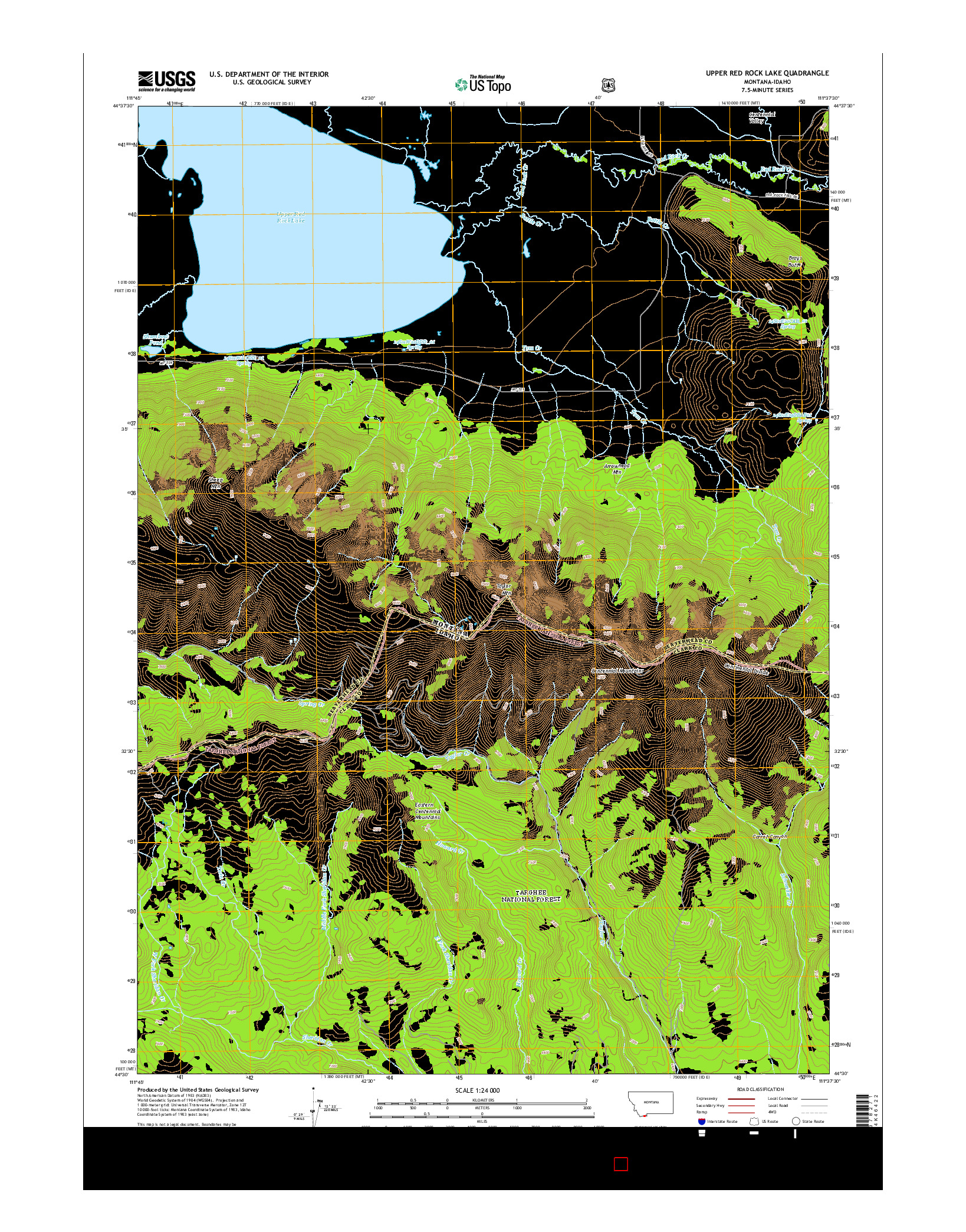 USGS US TOPO 7.5-MINUTE MAP FOR UPPER RED ROCK LAKE, MT-ID 2014