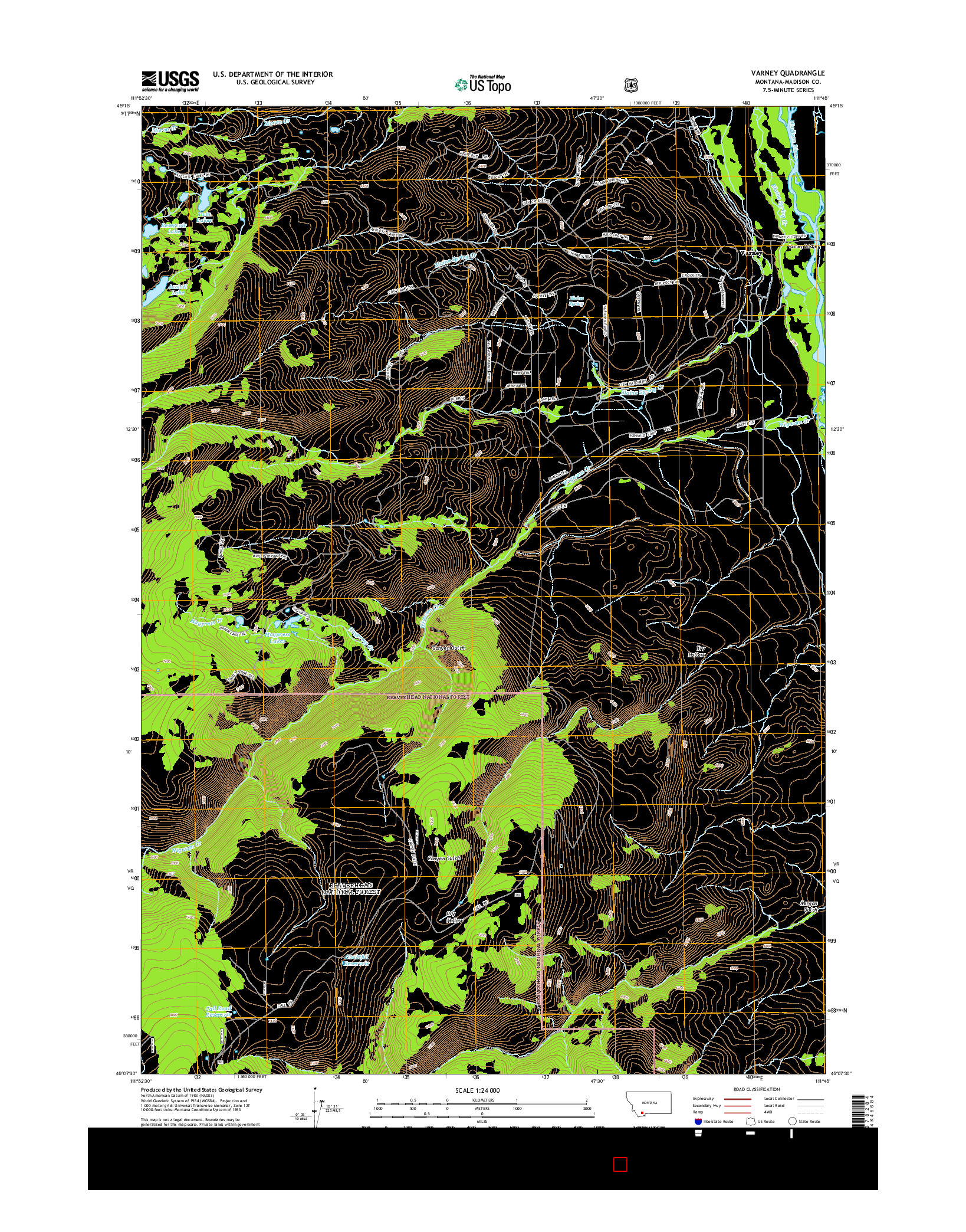 USGS US TOPO 7.5-MINUTE MAP FOR VARNEY, MT 2014