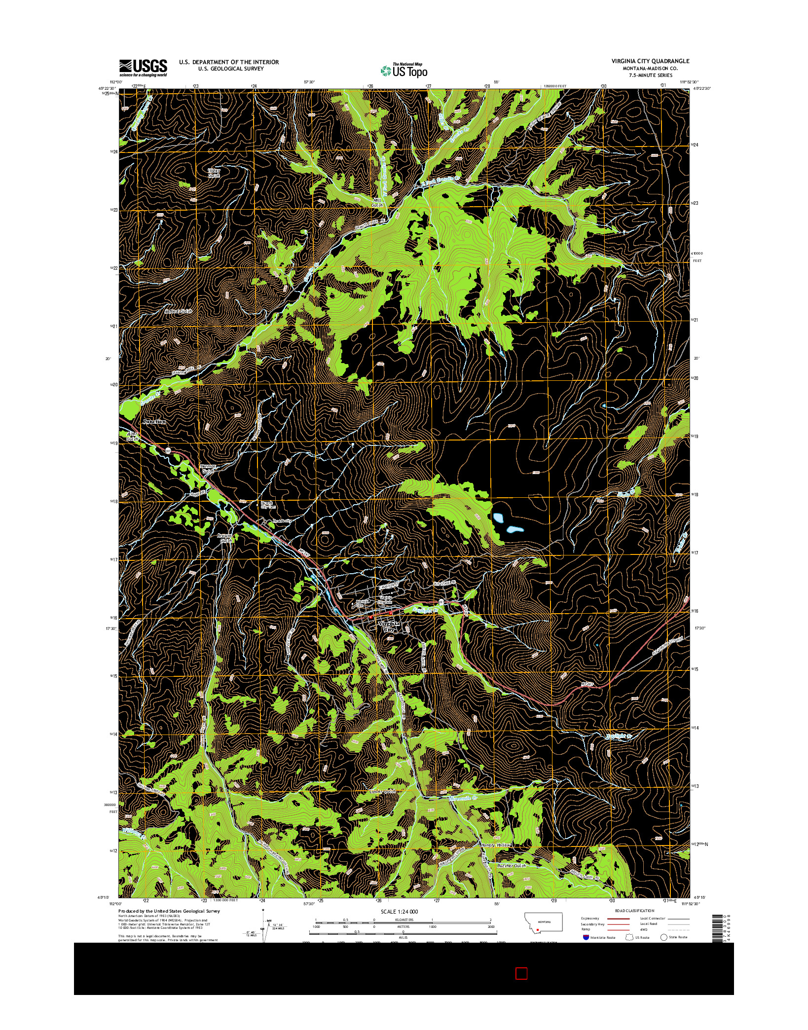 USGS US TOPO 7.5-MINUTE MAP FOR VIRGINIA CITY, MT 2014