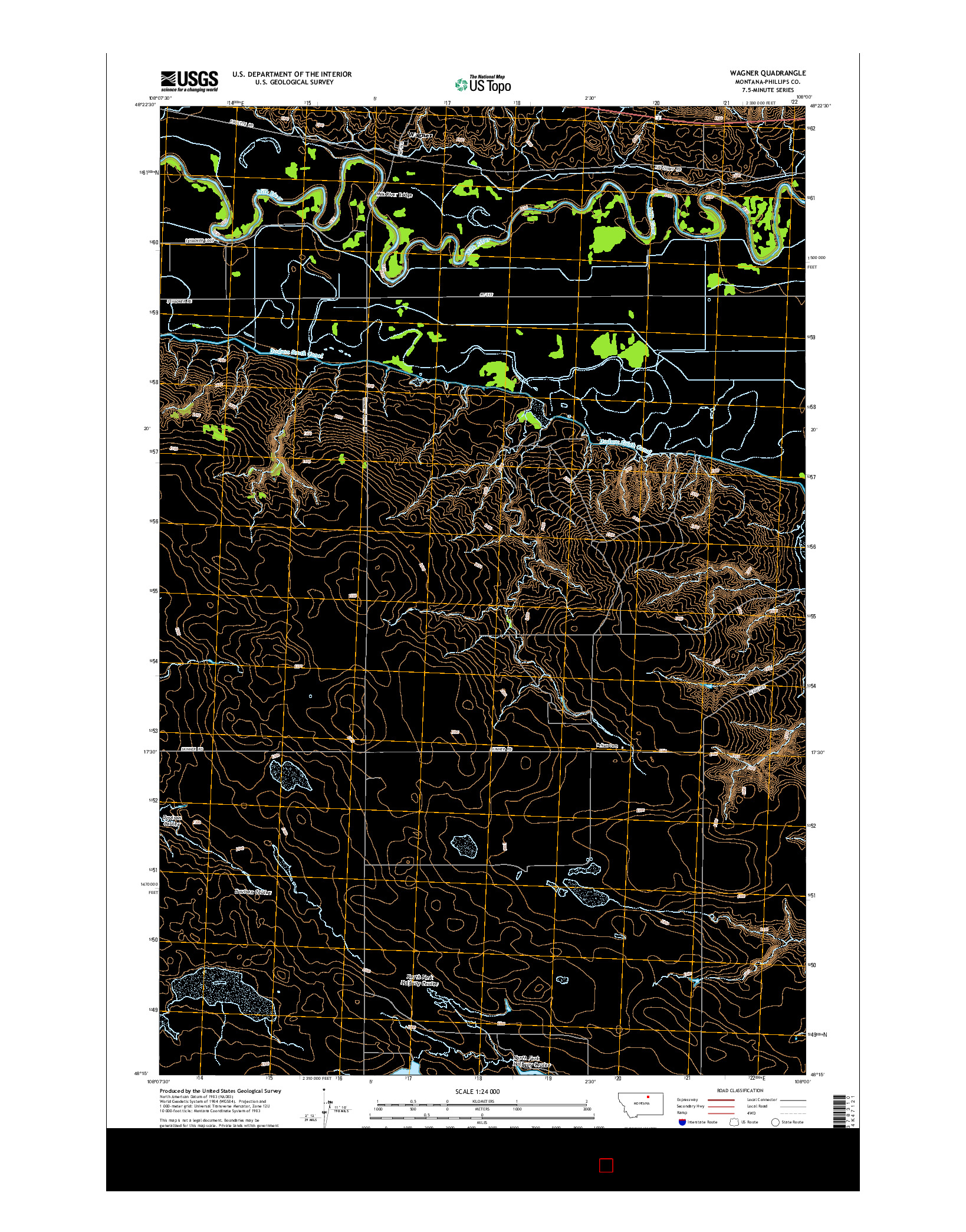 USGS US TOPO 7.5-MINUTE MAP FOR WAGNER, MT 2014