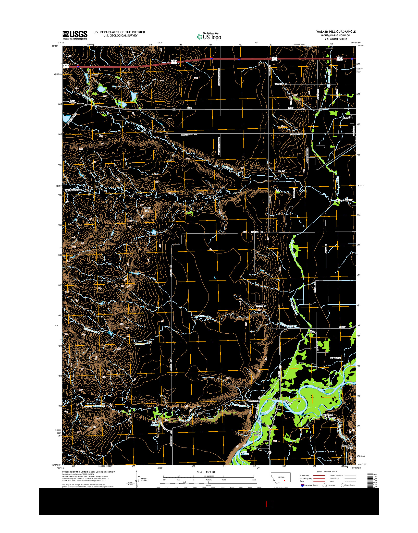 USGS US TOPO 7.5-MINUTE MAP FOR WALKER HILL, MT 2014