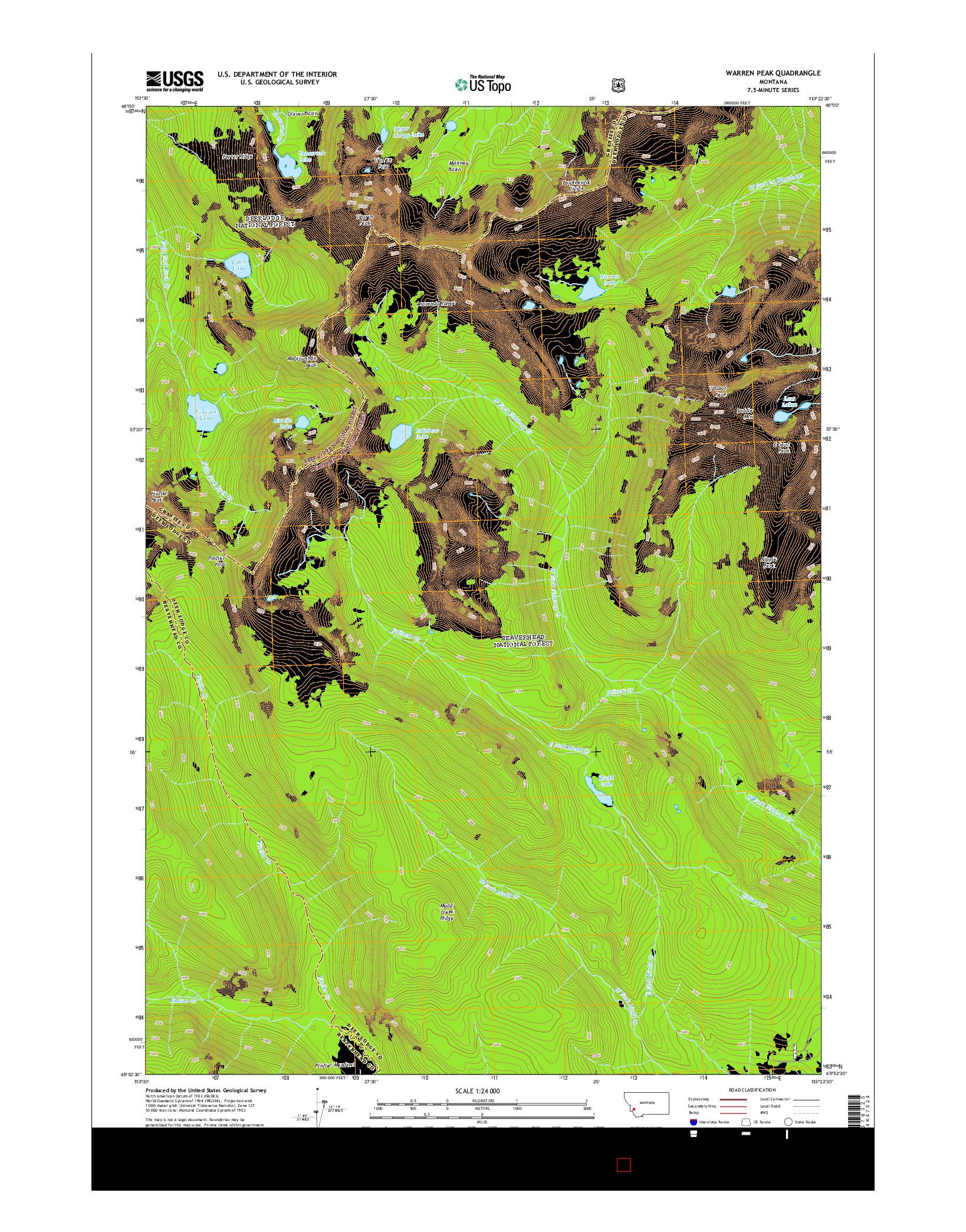 USGS US TOPO 7.5-MINUTE MAP FOR WARREN PEAK, MT 2014