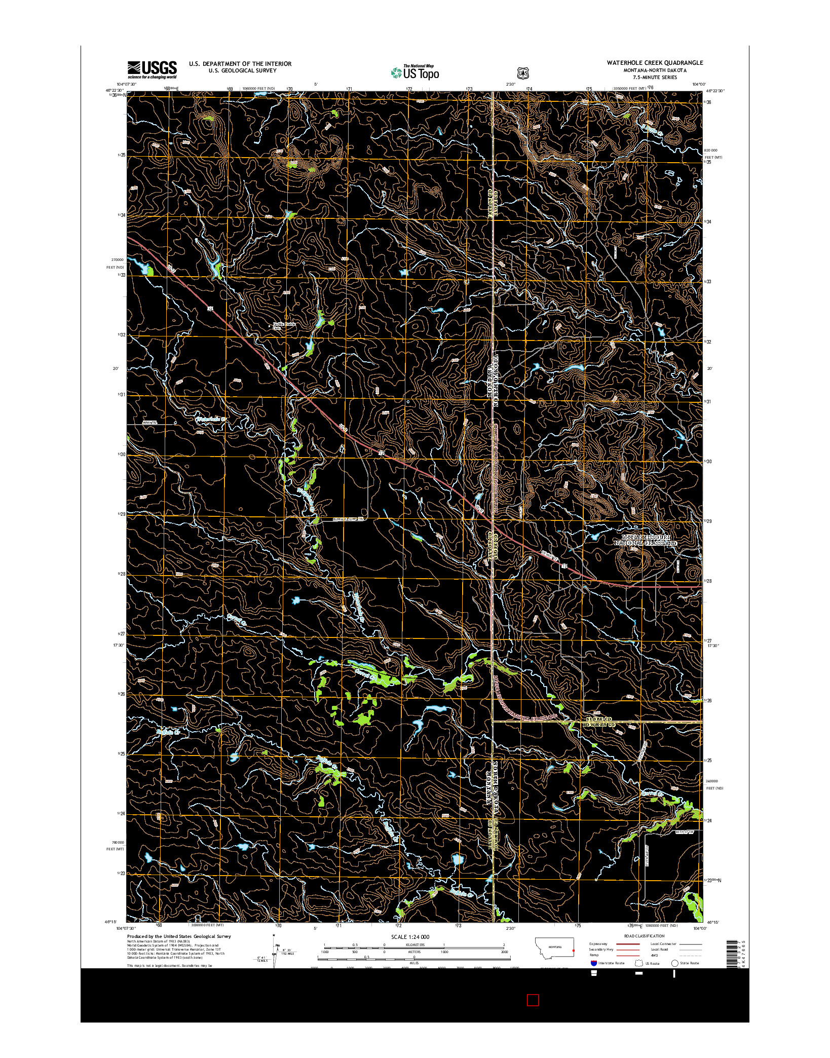 USGS US TOPO 7.5-MINUTE MAP FOR WATERHOLE CREEK, MT-ND 2014