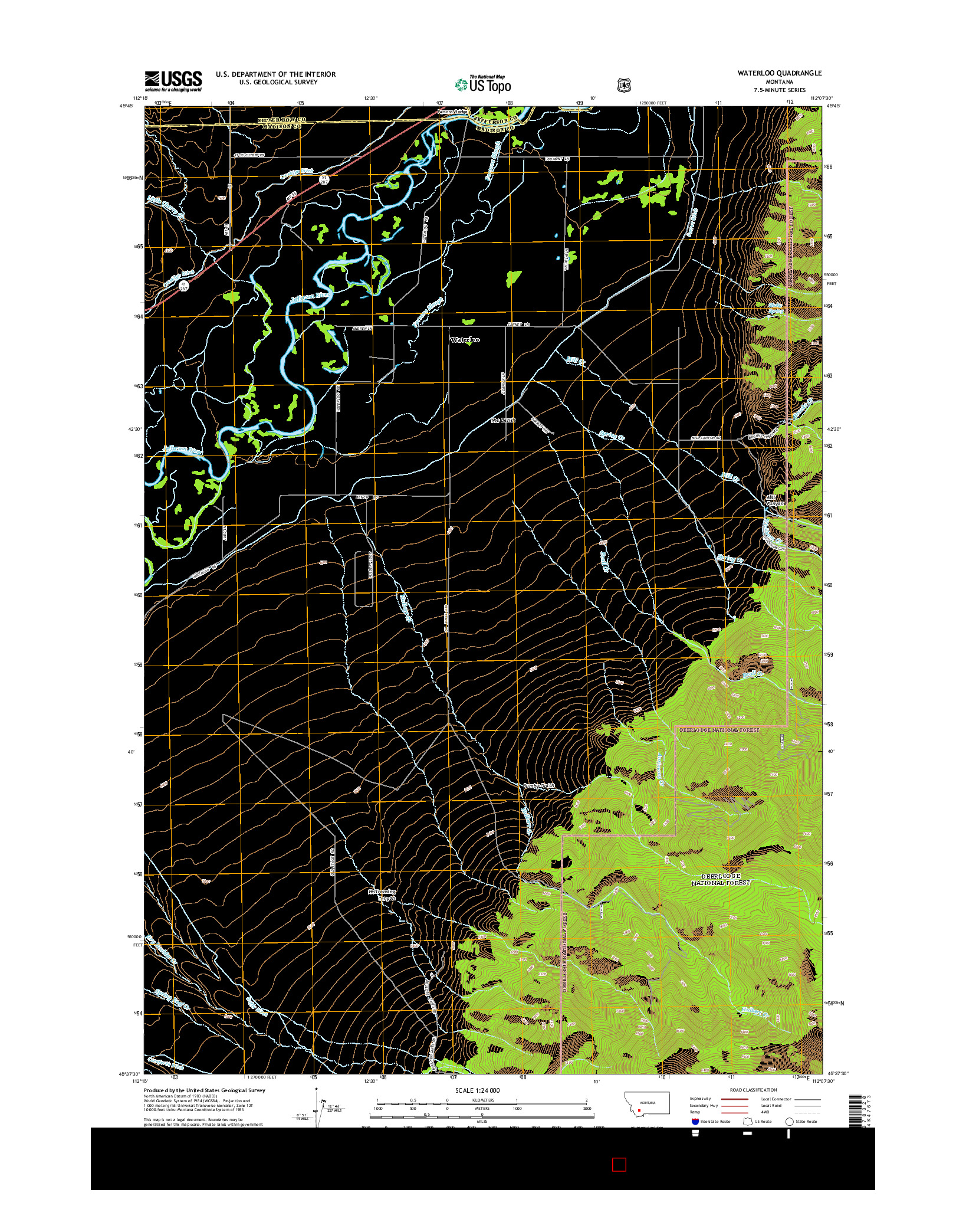 USGS US TOPO 7.5-MINUTE MAP FOR WATERLOO, MT 2014