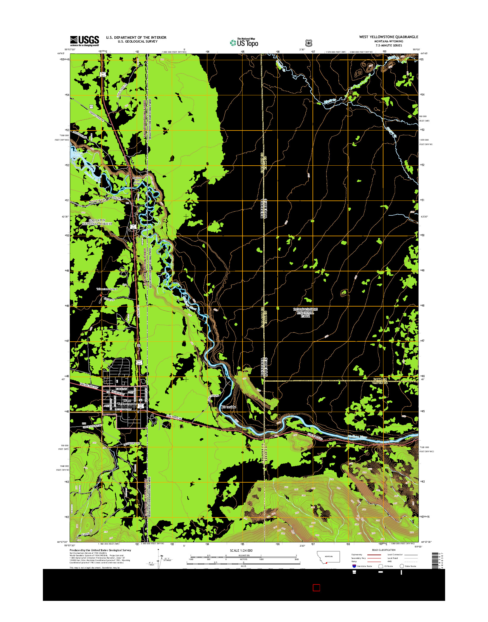 USGS US TOPO 7.5-MINUTE MAP FOR WEST YELLOWSTONE, MT-WY 2014