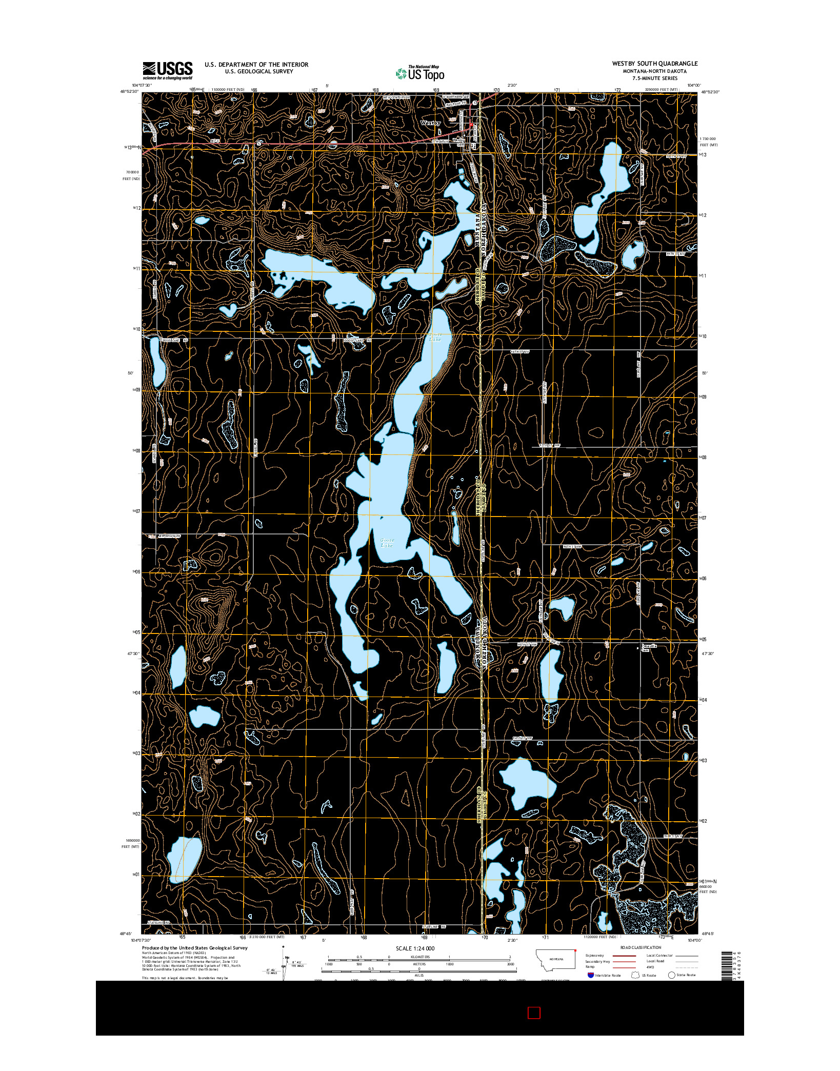 USGS US TOPO 7.5-MINUTE MAP FOR WESTBY SOUTH, MT-ND 2014