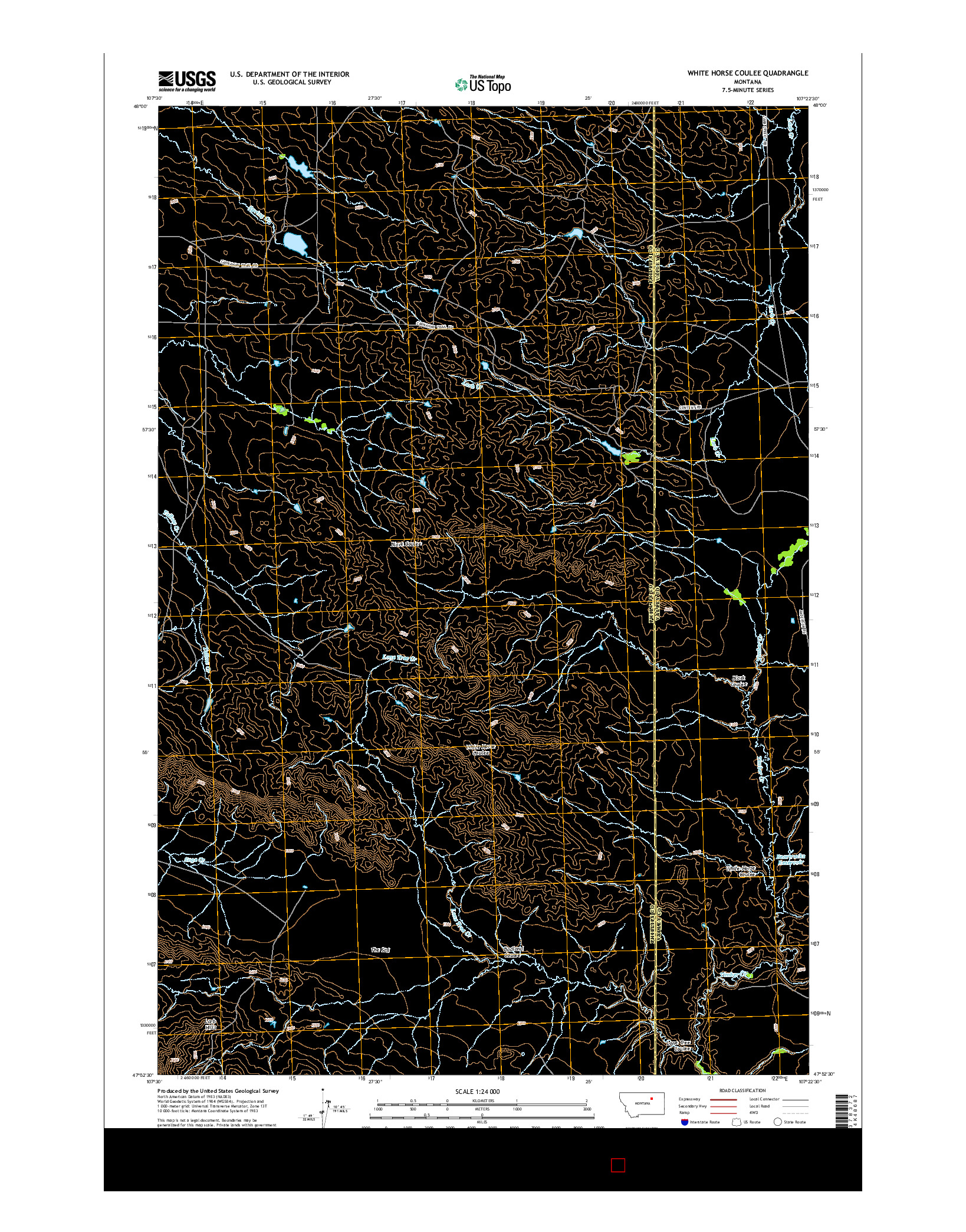 USGS US TOPO 7.5-MINUTE MAP FOR WHITE HORSE COULEE, MT 2014