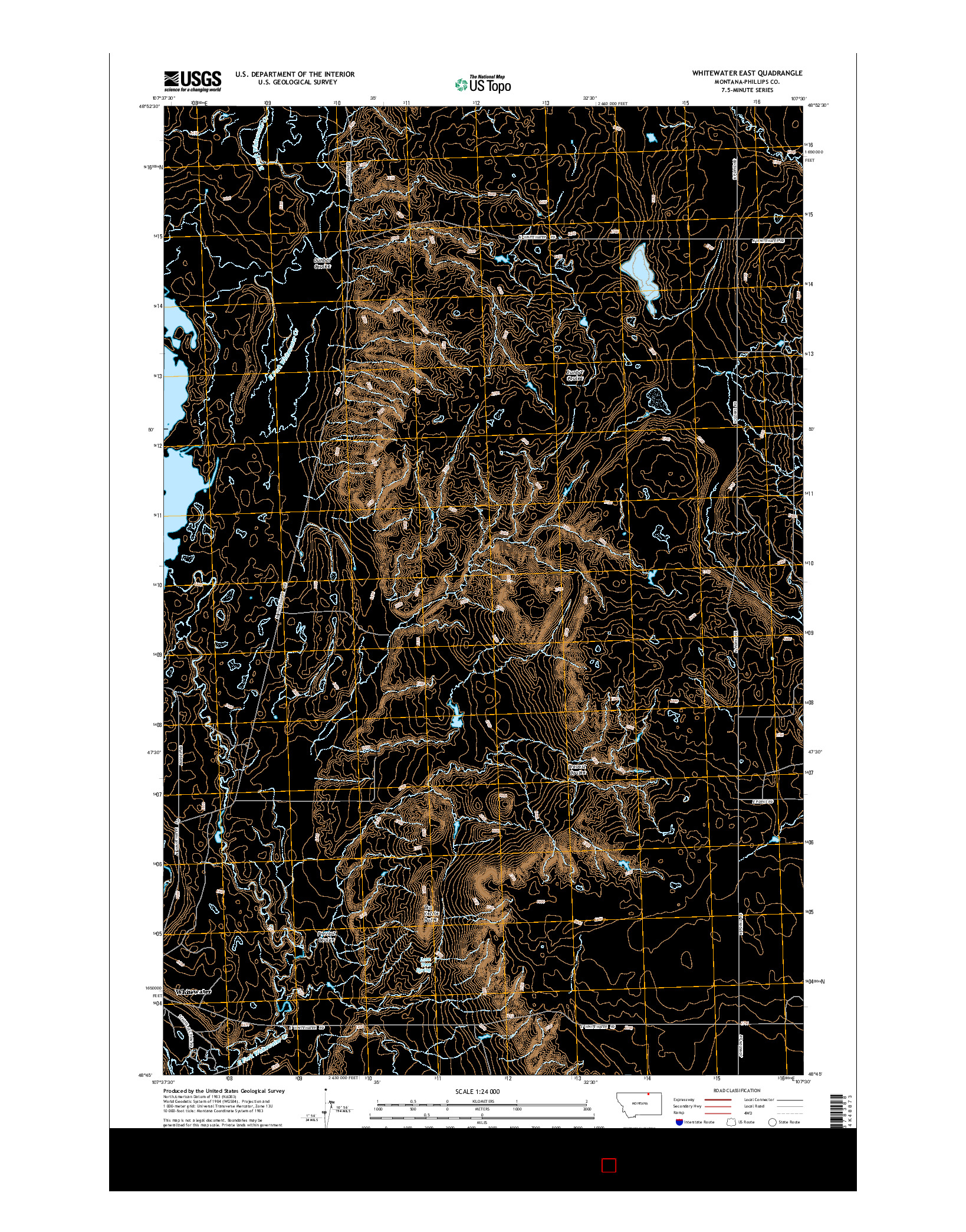 USGS US TOPO 7.5-MINUTE MAP FOR WHITEWATER EAST, MT 2014