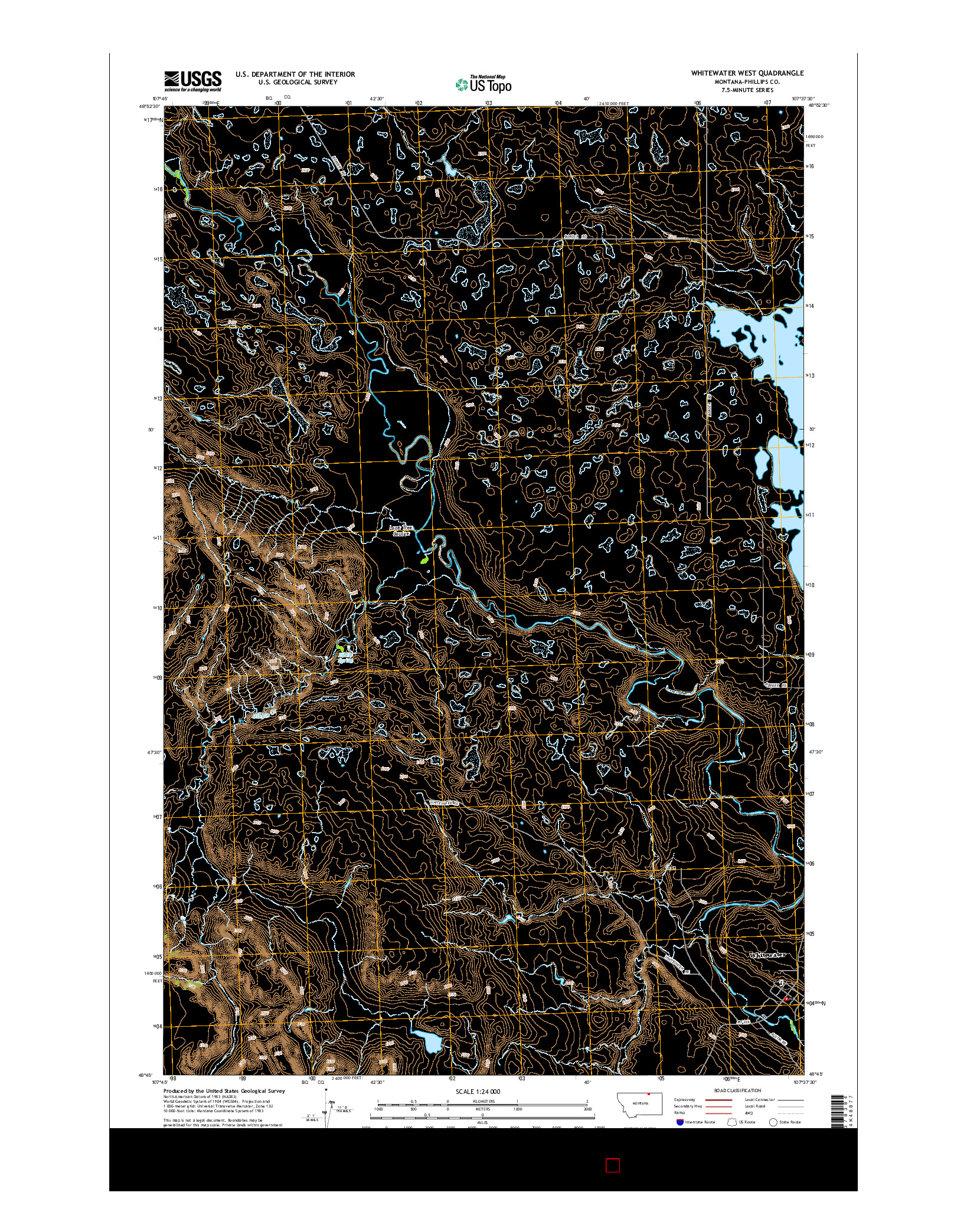 USGS US TOPO 7.5-MINUTE MAP FOR WHITEWATER WEST, MT 2014