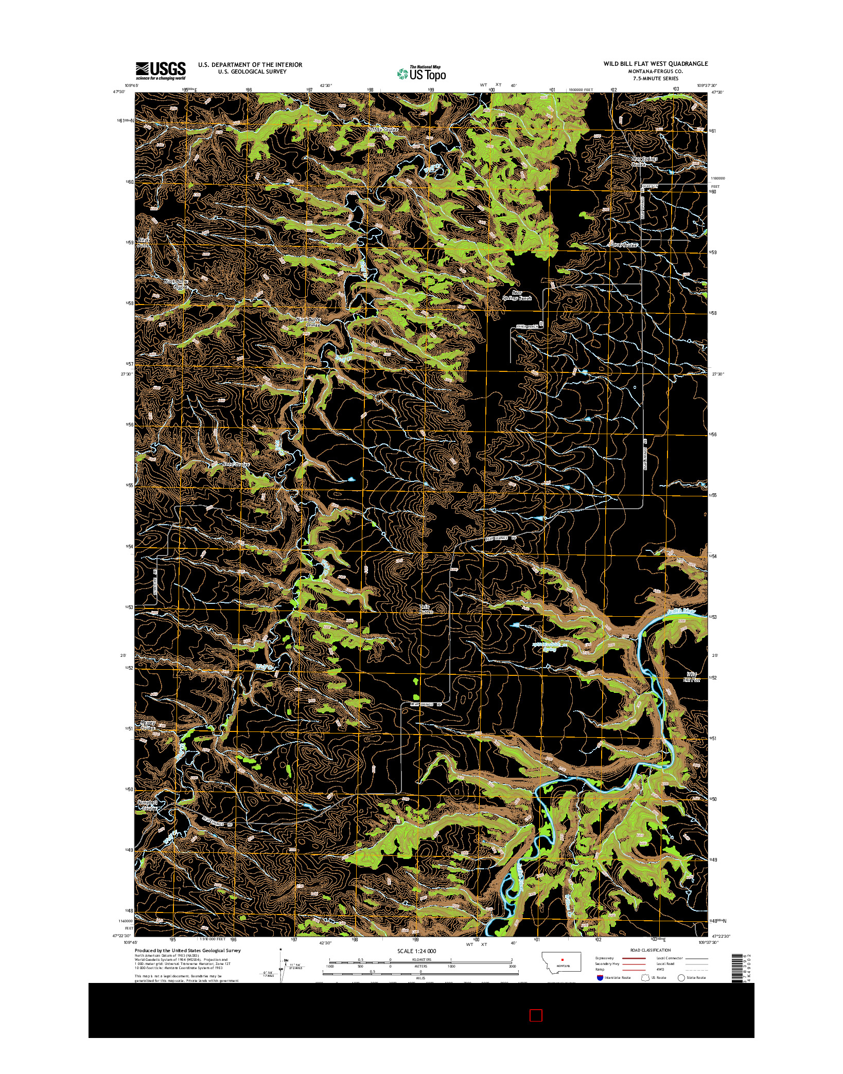 USGS US TOPO 7.5-MINUTE MAP FOR WILD BILL FLAT WEST, MT 2014