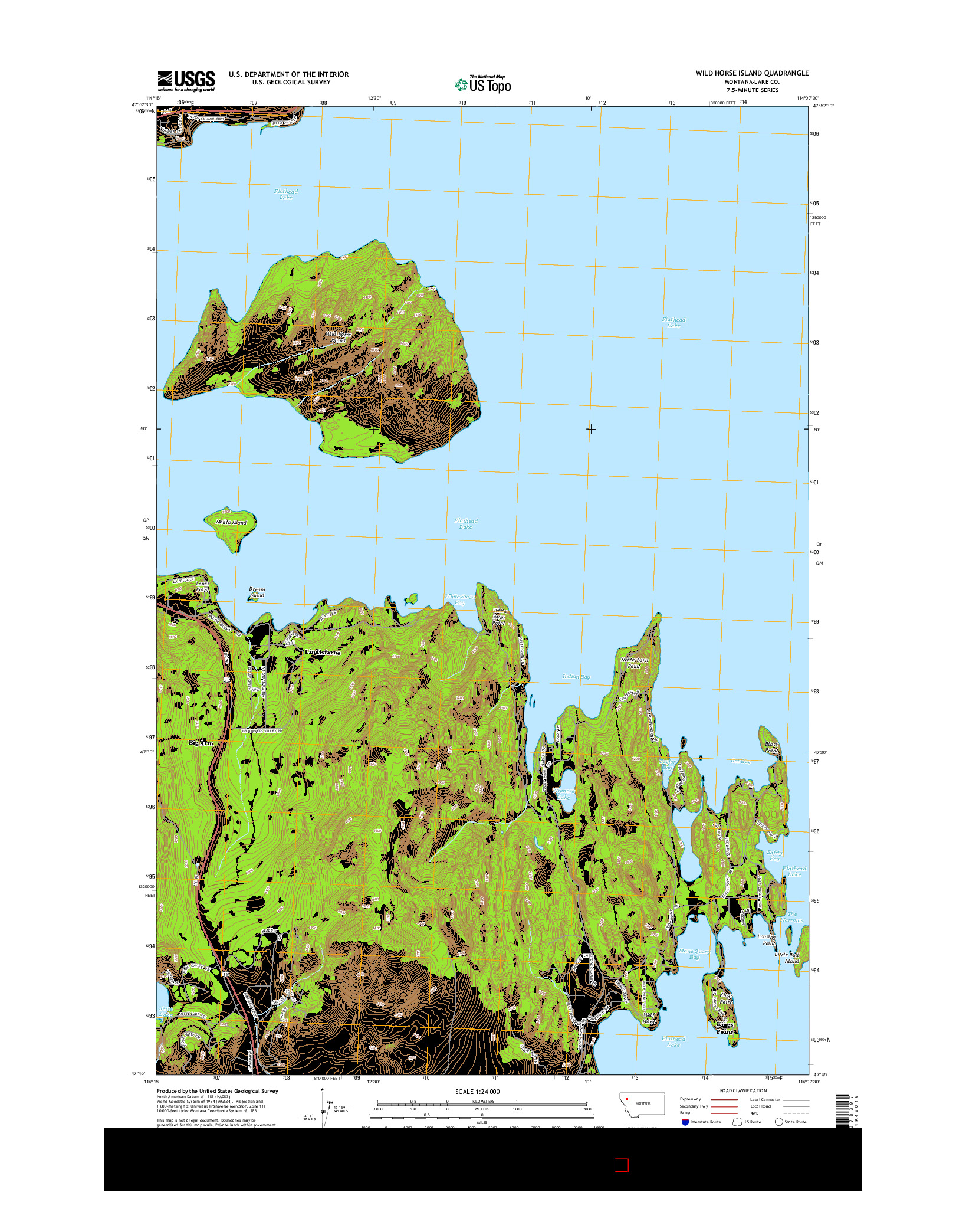USGS US TOPO 7.5-MINUTE MAP FOR WILD HORSE ISLAND, MT 2014