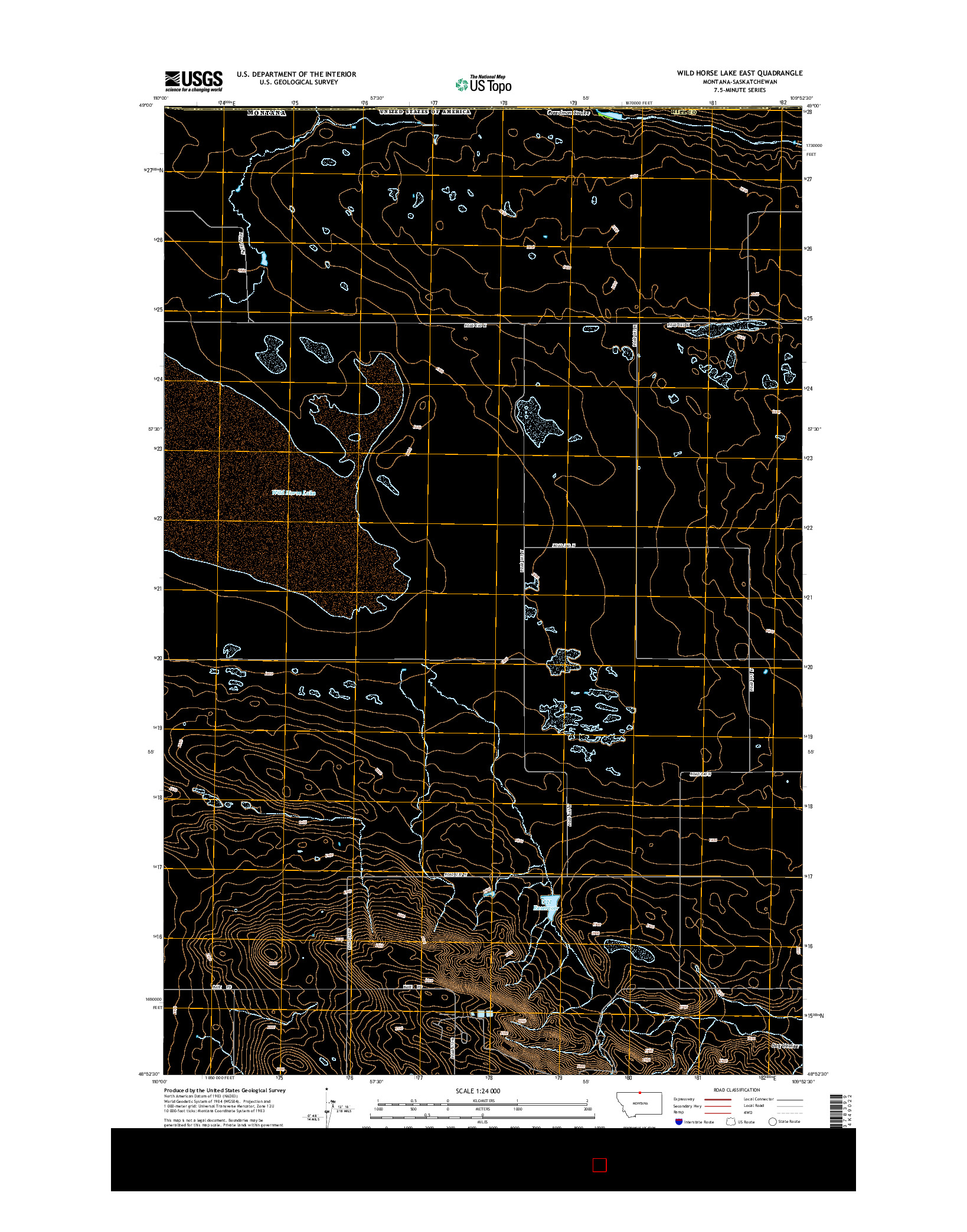USGS US TOPO 7.5-MINUTE MAP FOR WILD HORSE LAKE EAST, MT-SK 2014