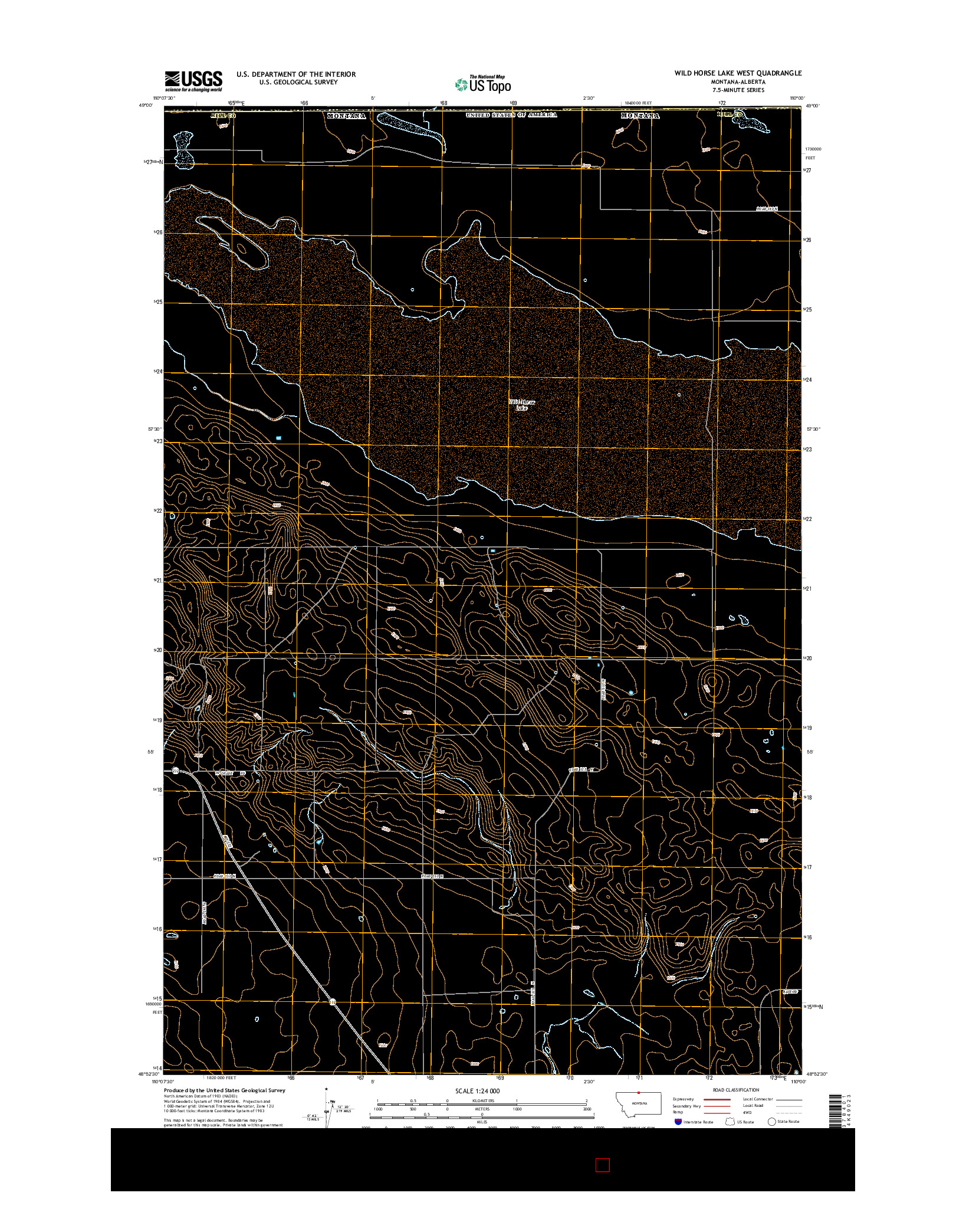USGS US TOPO 7.5-MINUTE MAP FOR WILD HORSE LAKE WEST, MT-AB 2014