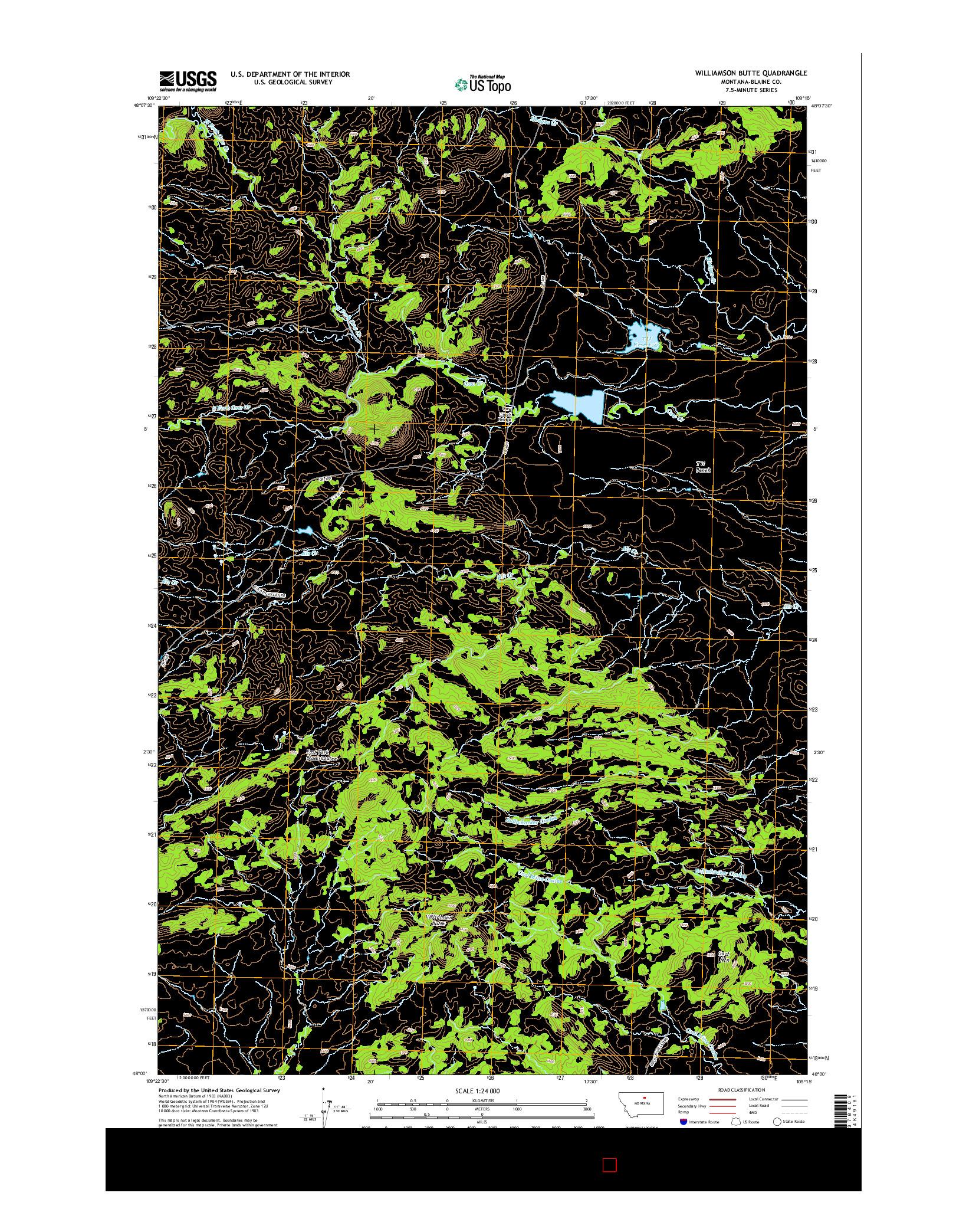 USGS US TOPO 7.5-MINUTE MAP FOR WILLIAMSON BUTTE, MT 2014