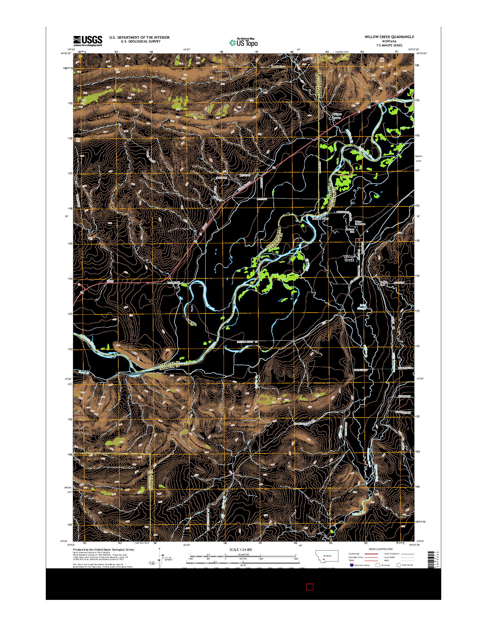 USGS US TOPO 7.5-MINUTE MAP FOR WILLOW CREEK, MT 2014
