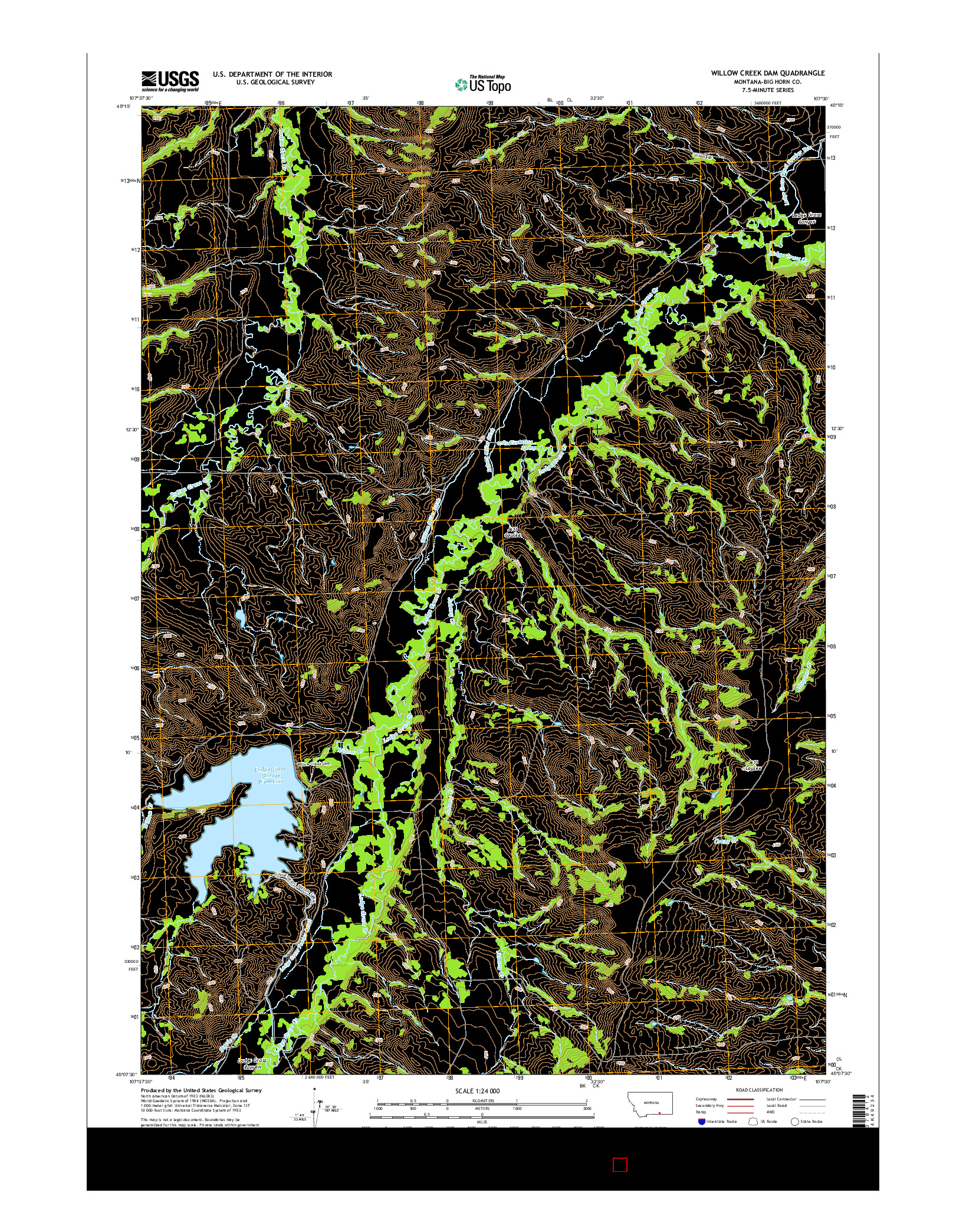 USGS US TOPO 7.5-MINUTE MAP FOR WILLOW CREEK DAM, MT 2014