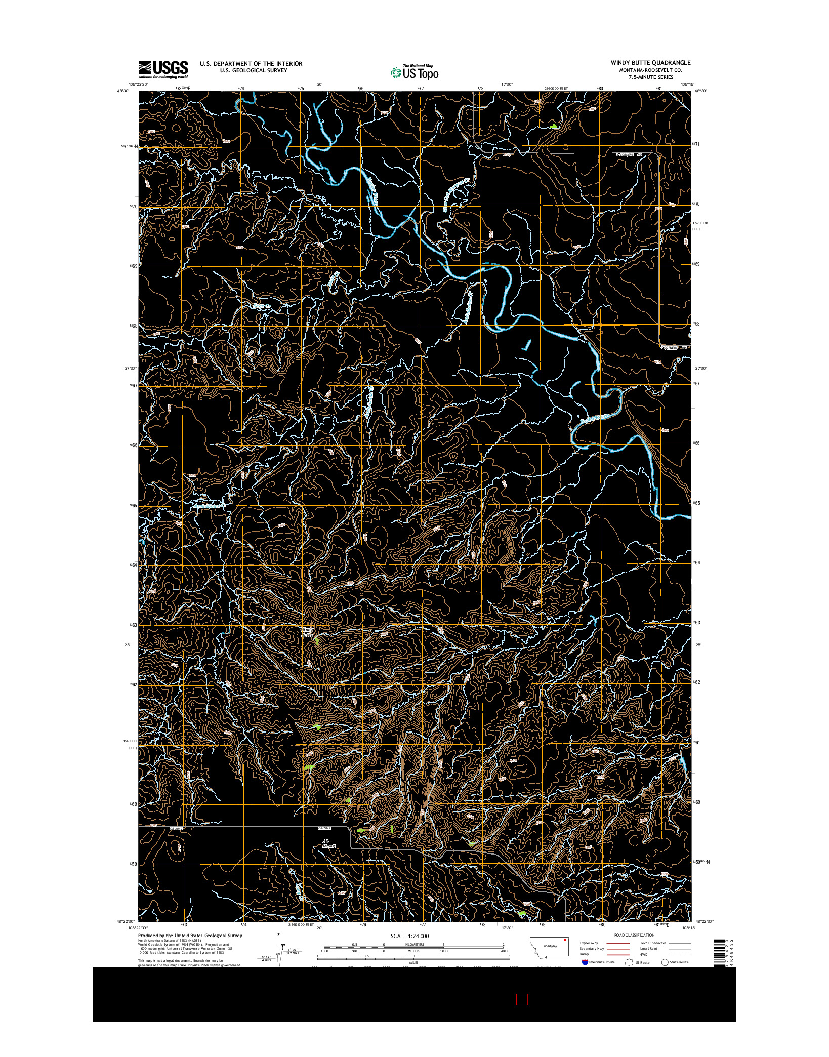 USGS US TOPO 7.5-MINUTE MAP FOR WINDY BUTTE, MT 2014