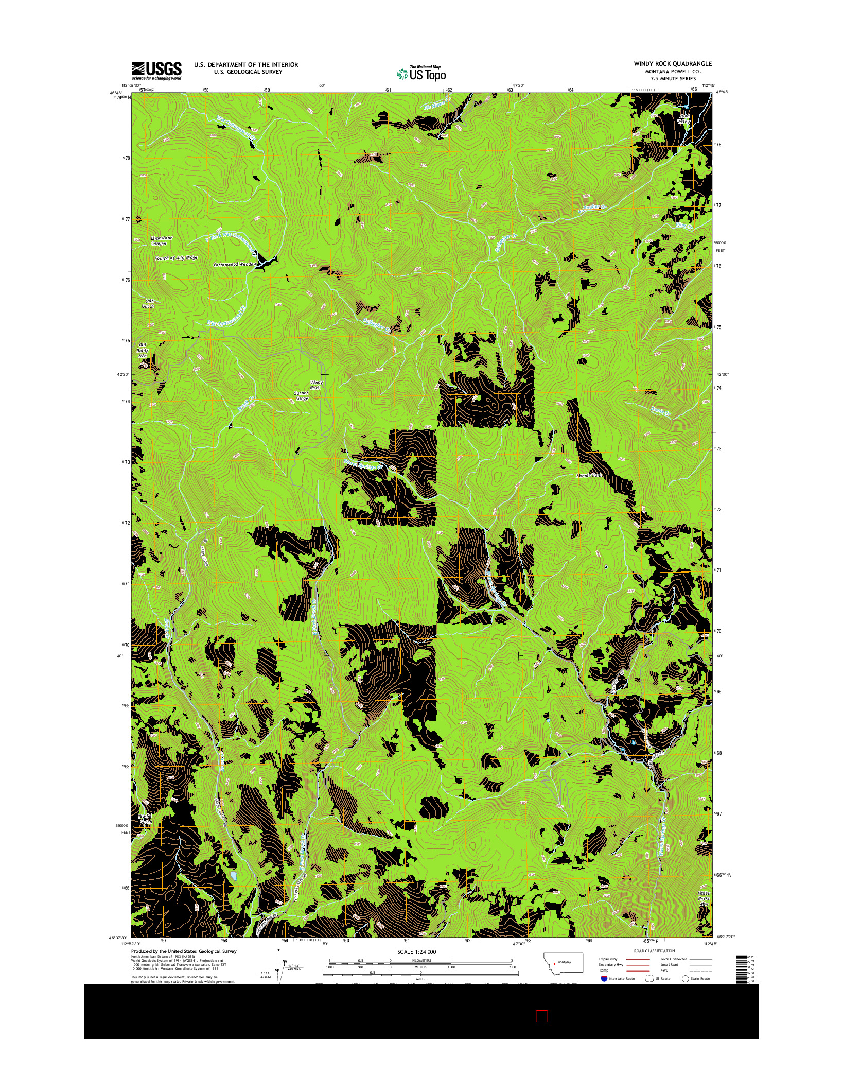 USGS US TOPO 7.5-MINUTE MAP FOR WINDY ROCK, MT 2014