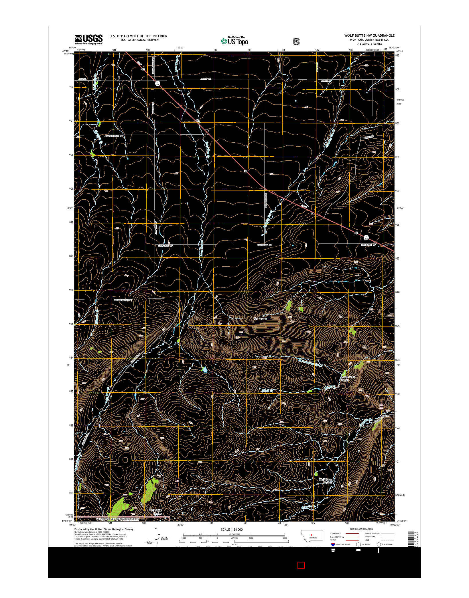 USGS US TOPO 7.5-MINUTE MAP FOR WOLF BUTTE NW, MT 2014