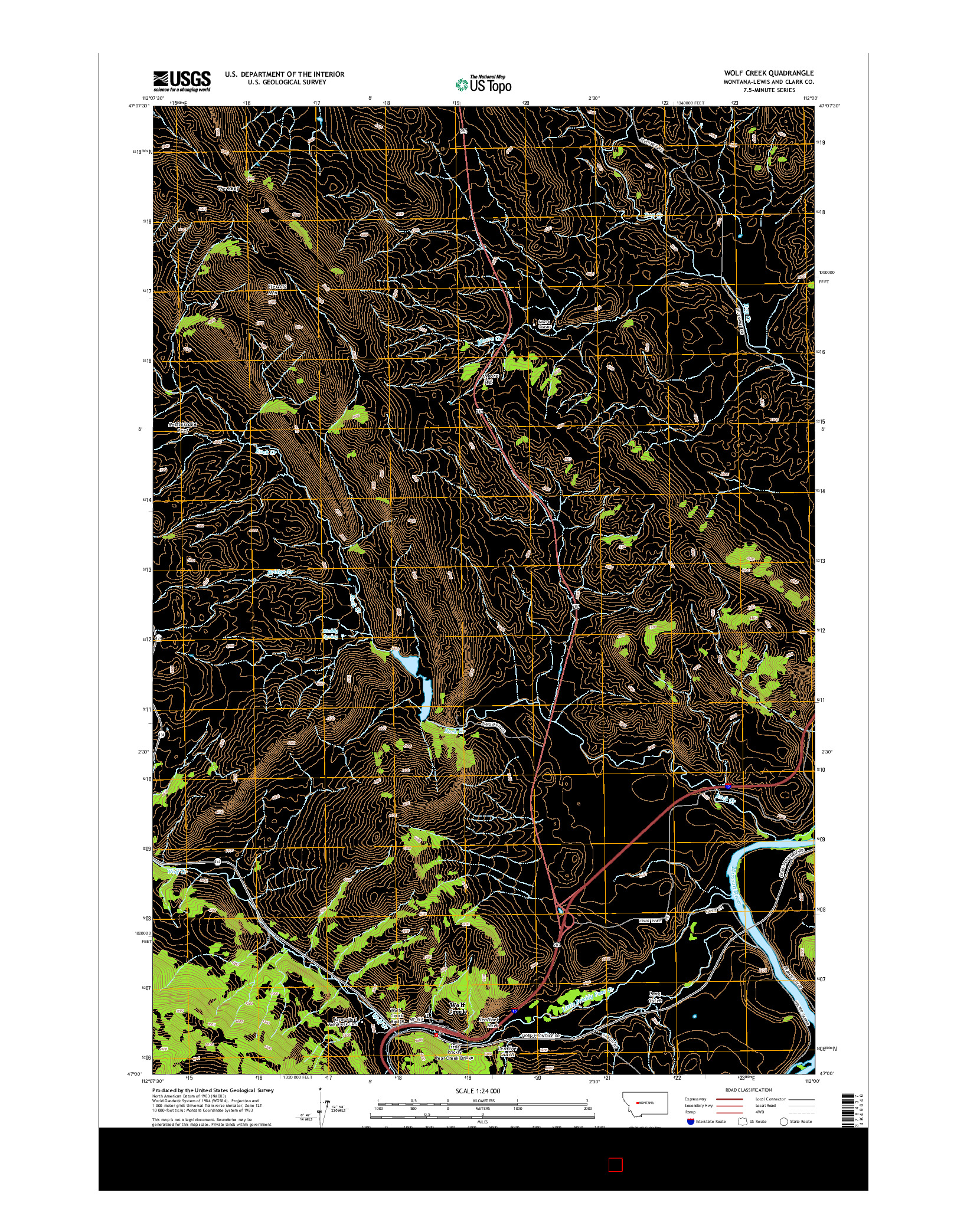 USGS US TOPO 7.5-MINUTE MAP FOR WOLF CREEK, MT 2014